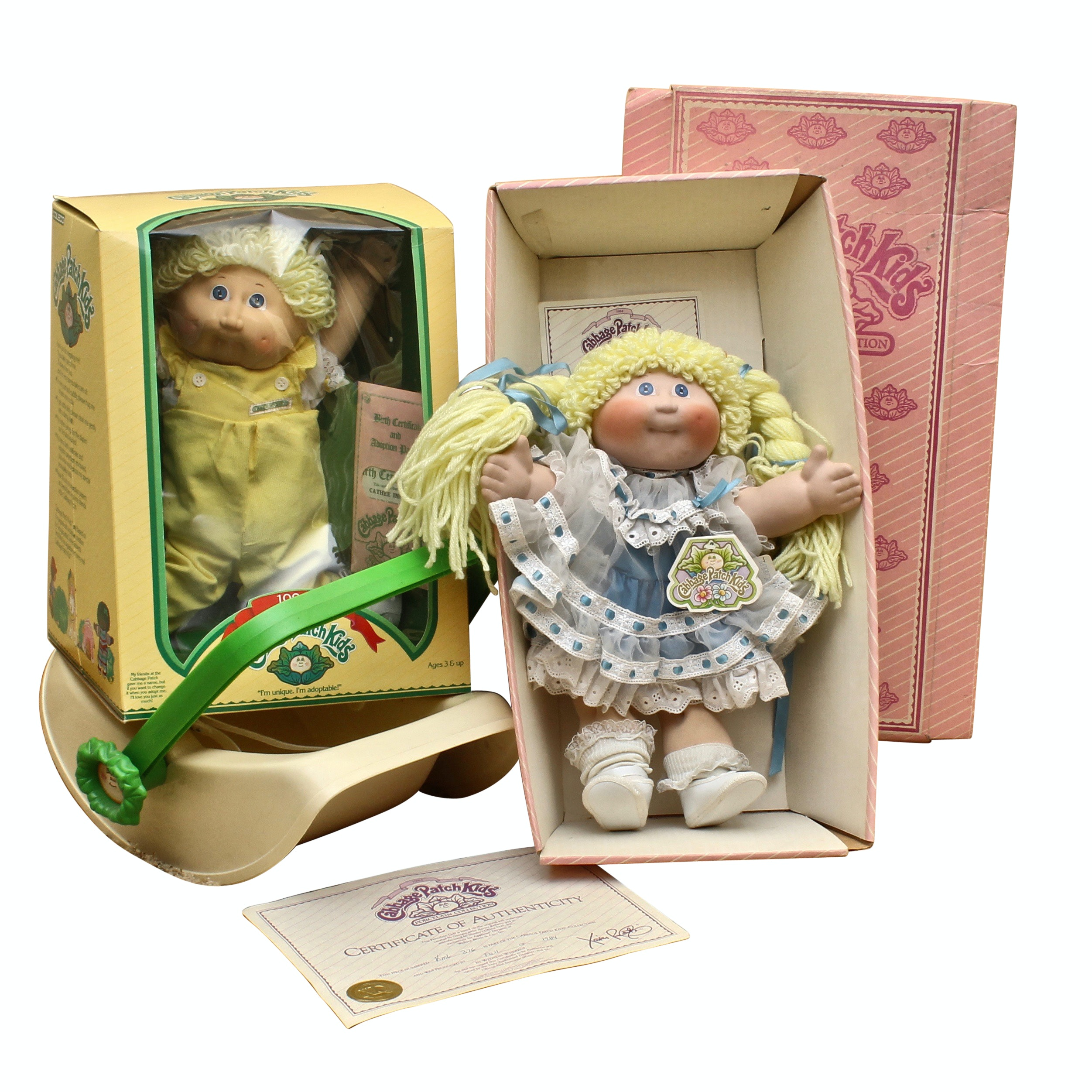 Vintage 1980s Porcelain Cabbage Patch Doll and Plush Cabbage Patch Baby
