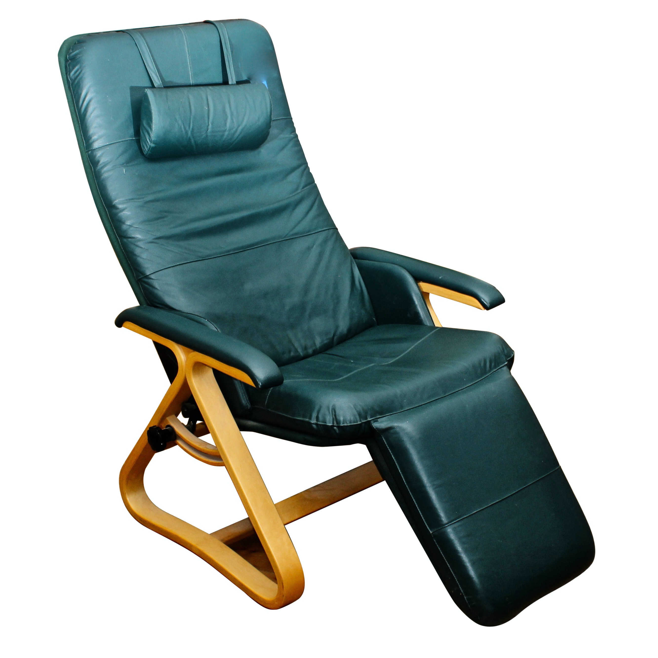"""Backsaver"" Zero Gravity Green Leather Recliner"