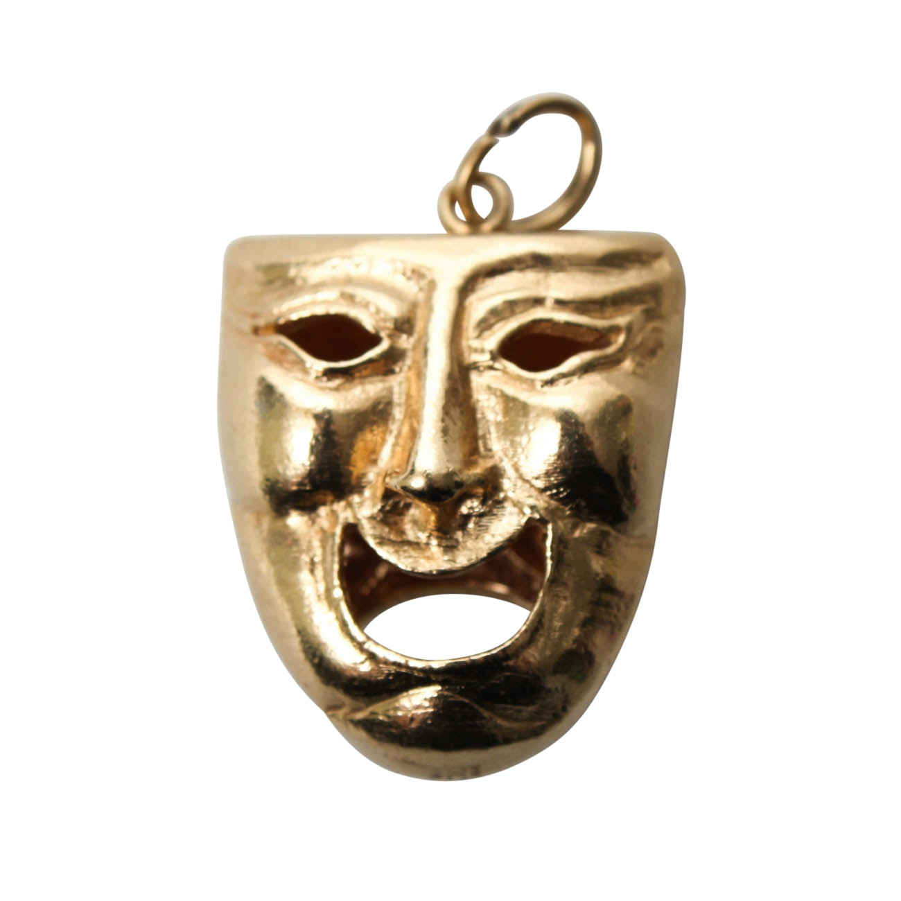 14K Yellow Gold Theater Mask Pendant