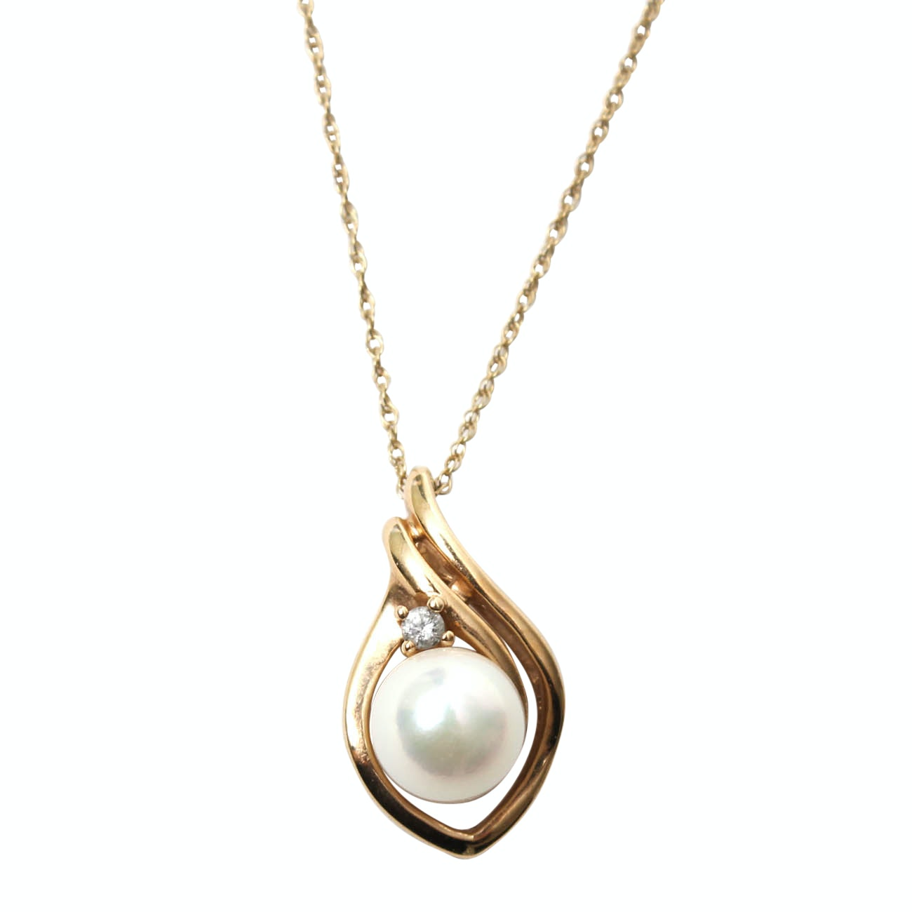 10K Yellow Gold Diamond and Pearl Pendant Necklace