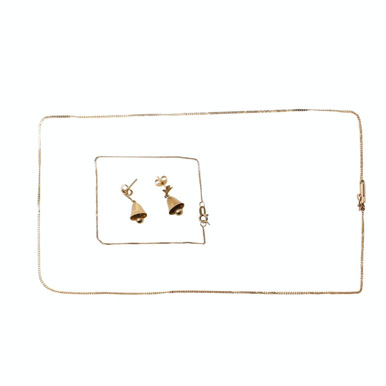 14K Yellow Gold Bell Earrings and Chains