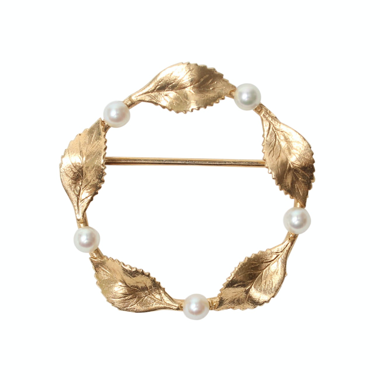 14K Yellow Gold 1950s Pearl Wreath Brooch