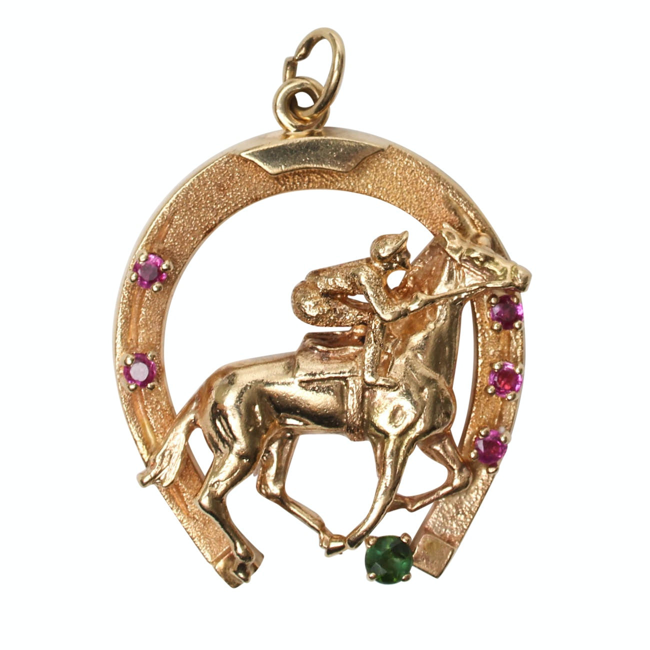 14K Yellow Gold Pendant with Rubies and Green Tourmaline
