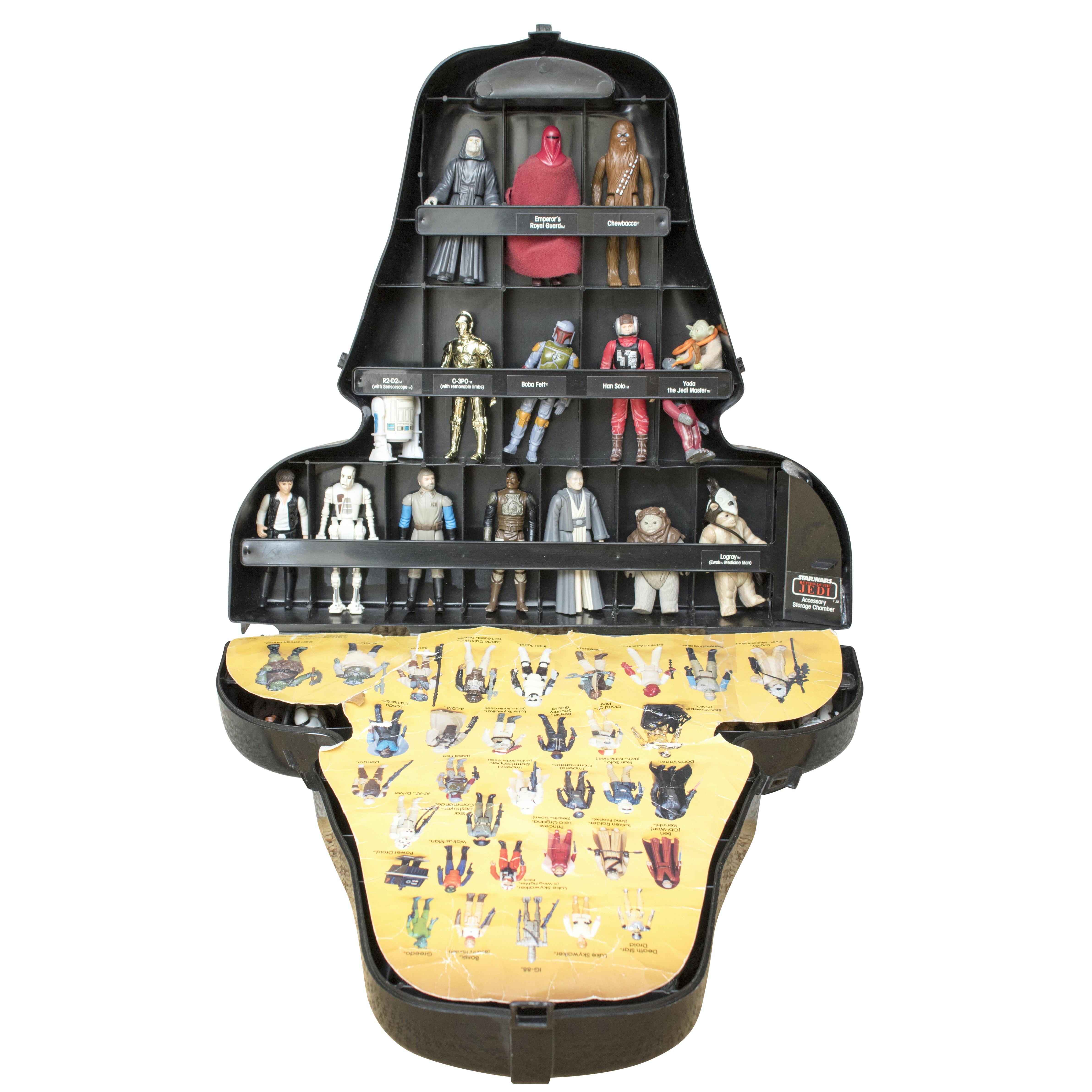 1970s-1980s Vintage Star Wars Figurines in Darth Vader Storage Case