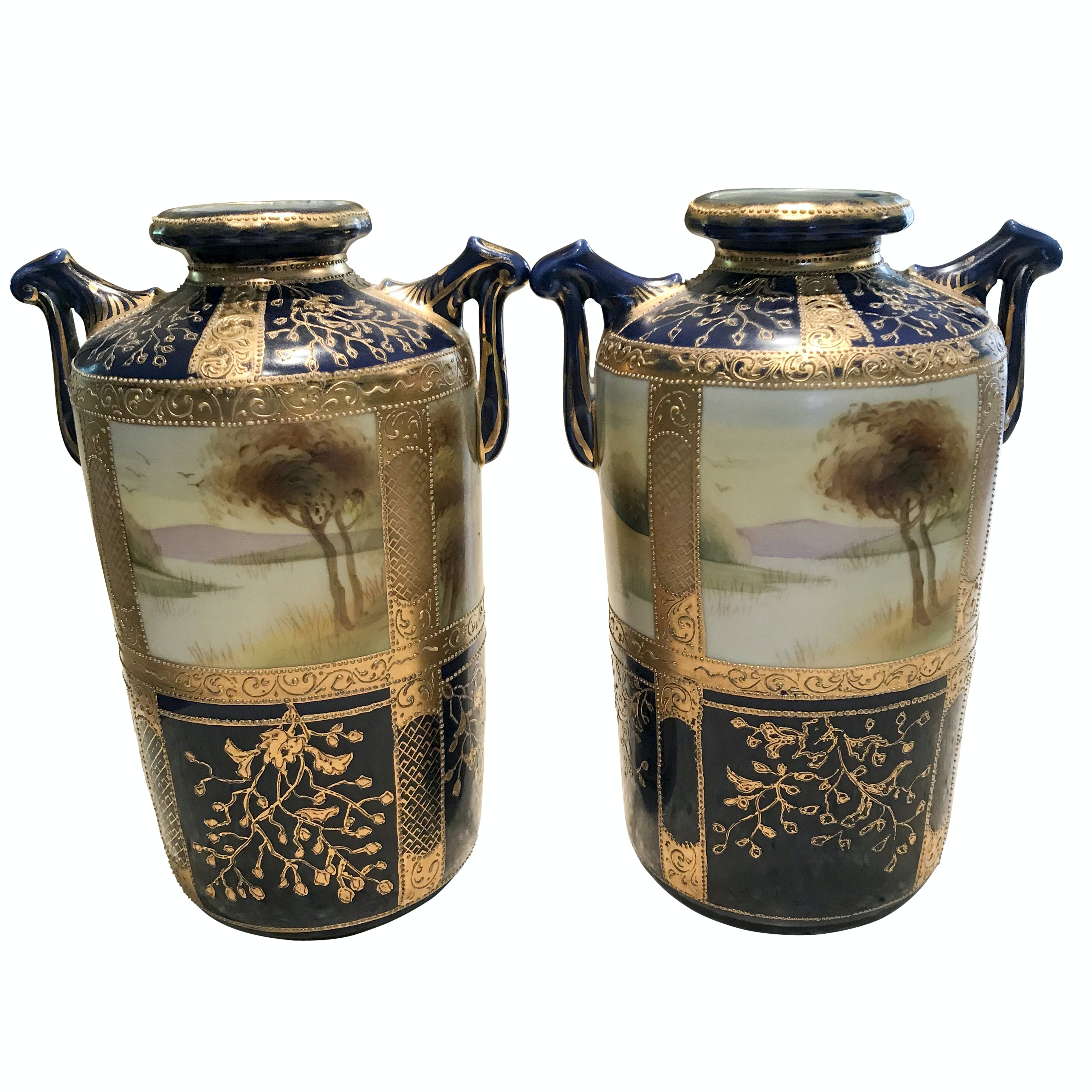 Classical Style Nippon Hand-Painted Urn Vases