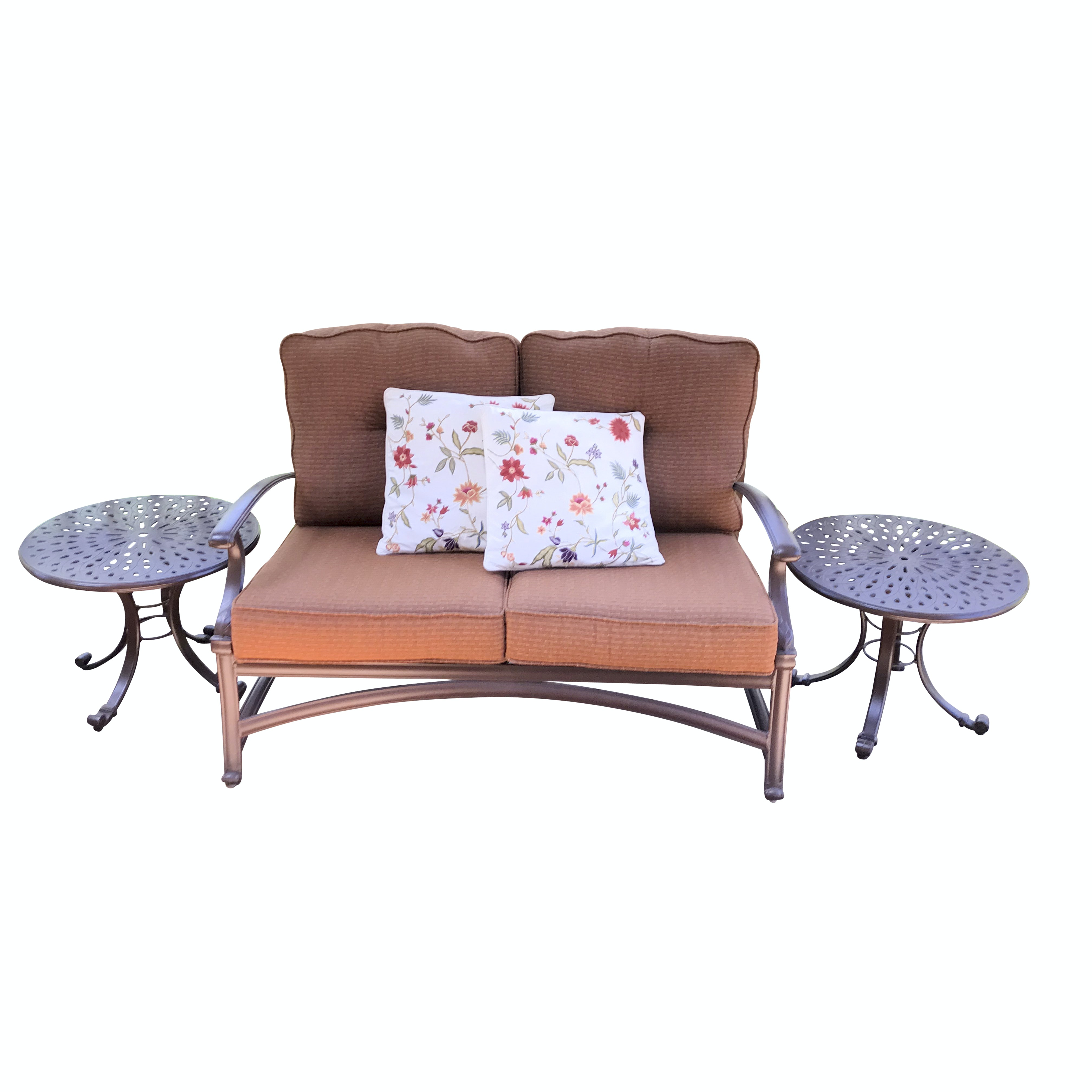 Winston Metal Patio Loveseat and Side Tables with Cover