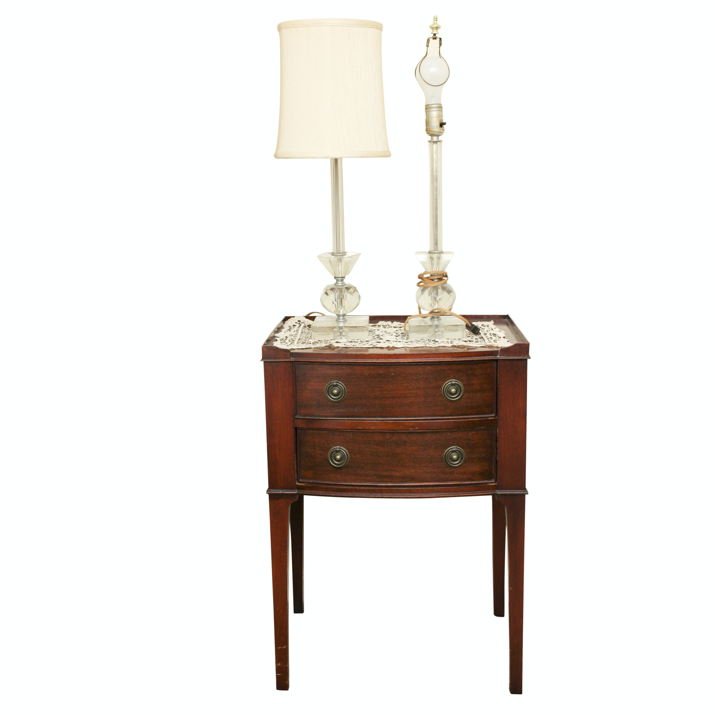Vintage Mahogany Nightstand, Footstool and Crystal Lamps
