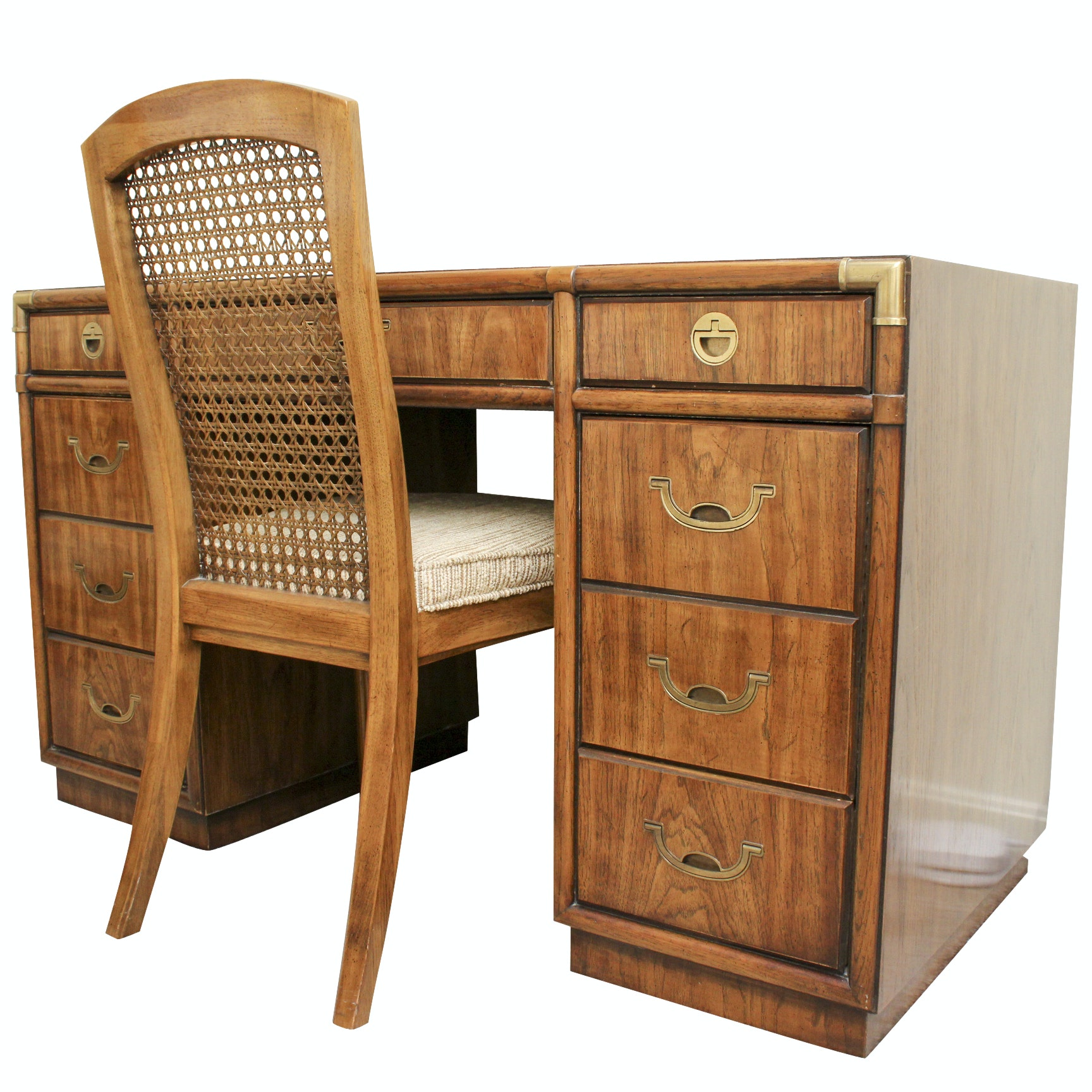 Drexel-Heritage Kneehole Desk and Cane Chair