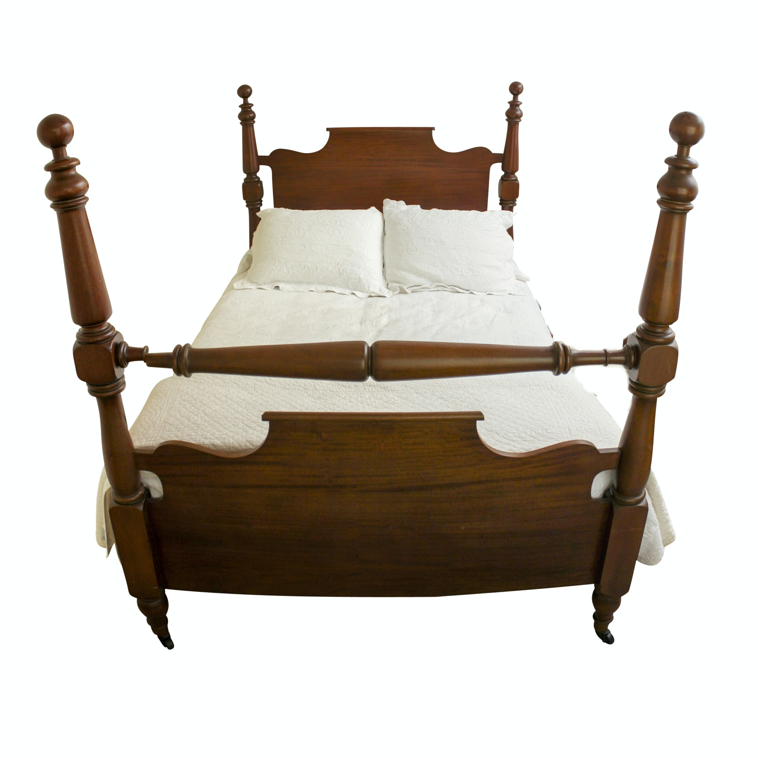 Queen Anne Style Full Bed Frame and Matelasse Bedding