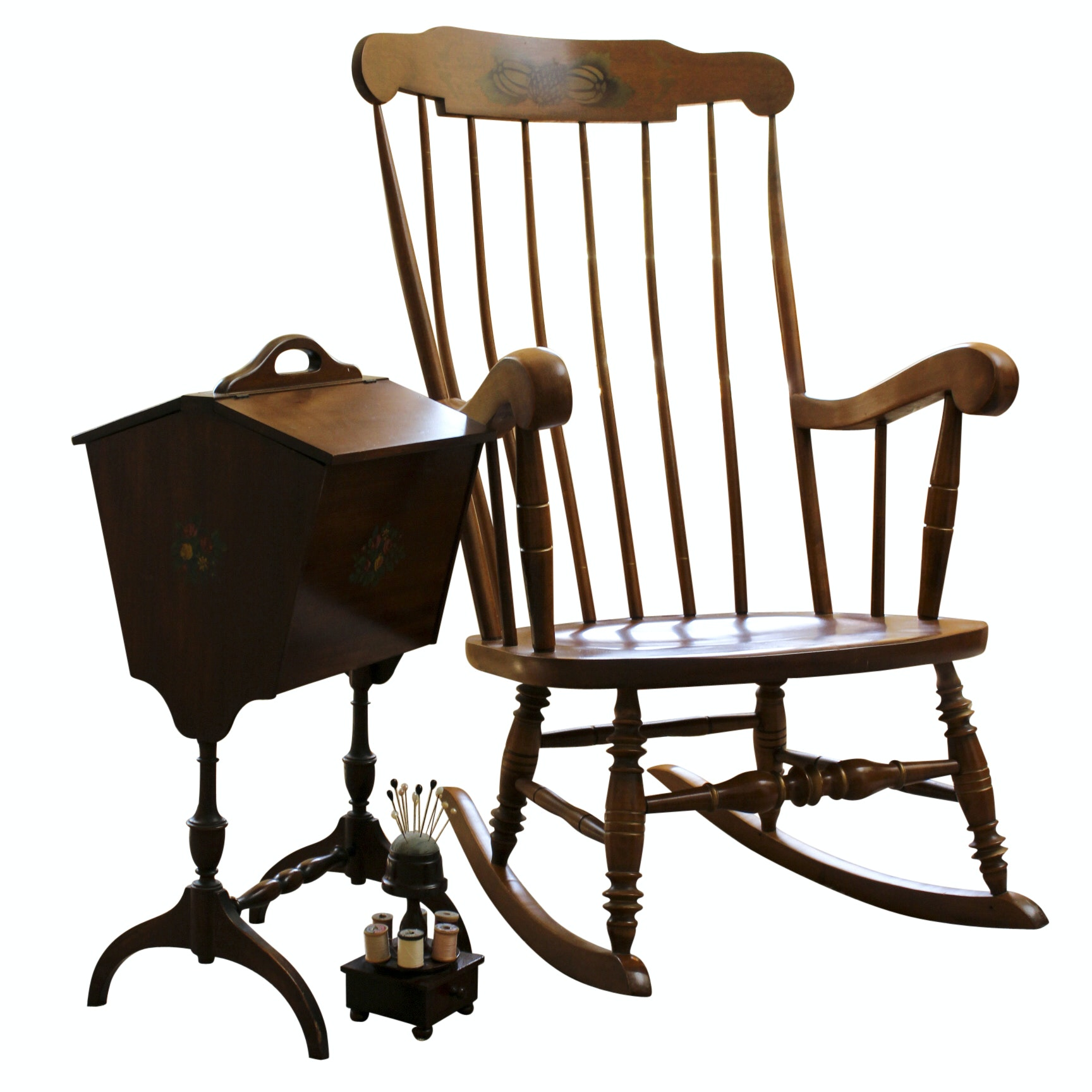Ethan Allen Vintage Rocking Chair and Sewing Box