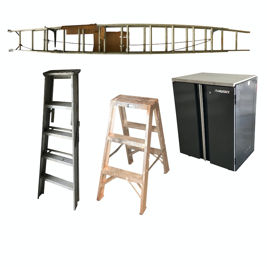 Stupendous 26 Aluminum Extension Ladder Step Ladders And Husky Storage Cabinet Caraccident5 Cool Chair Designs And Ideas Caraccident5Info