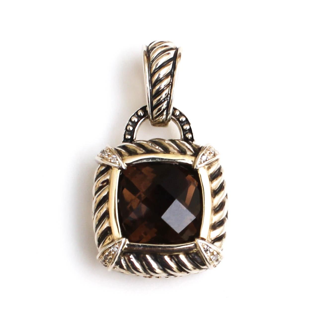 14K White Gold and Sterling Smoky Quartz and Diamond Pendant