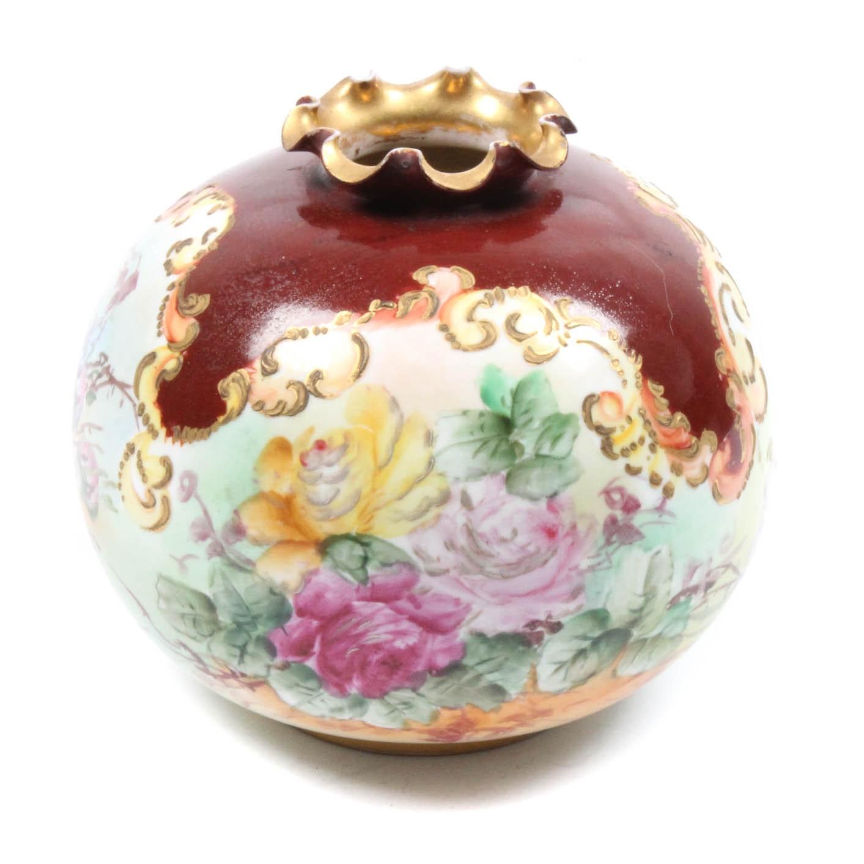Antique Belleek Hand Painted Vase