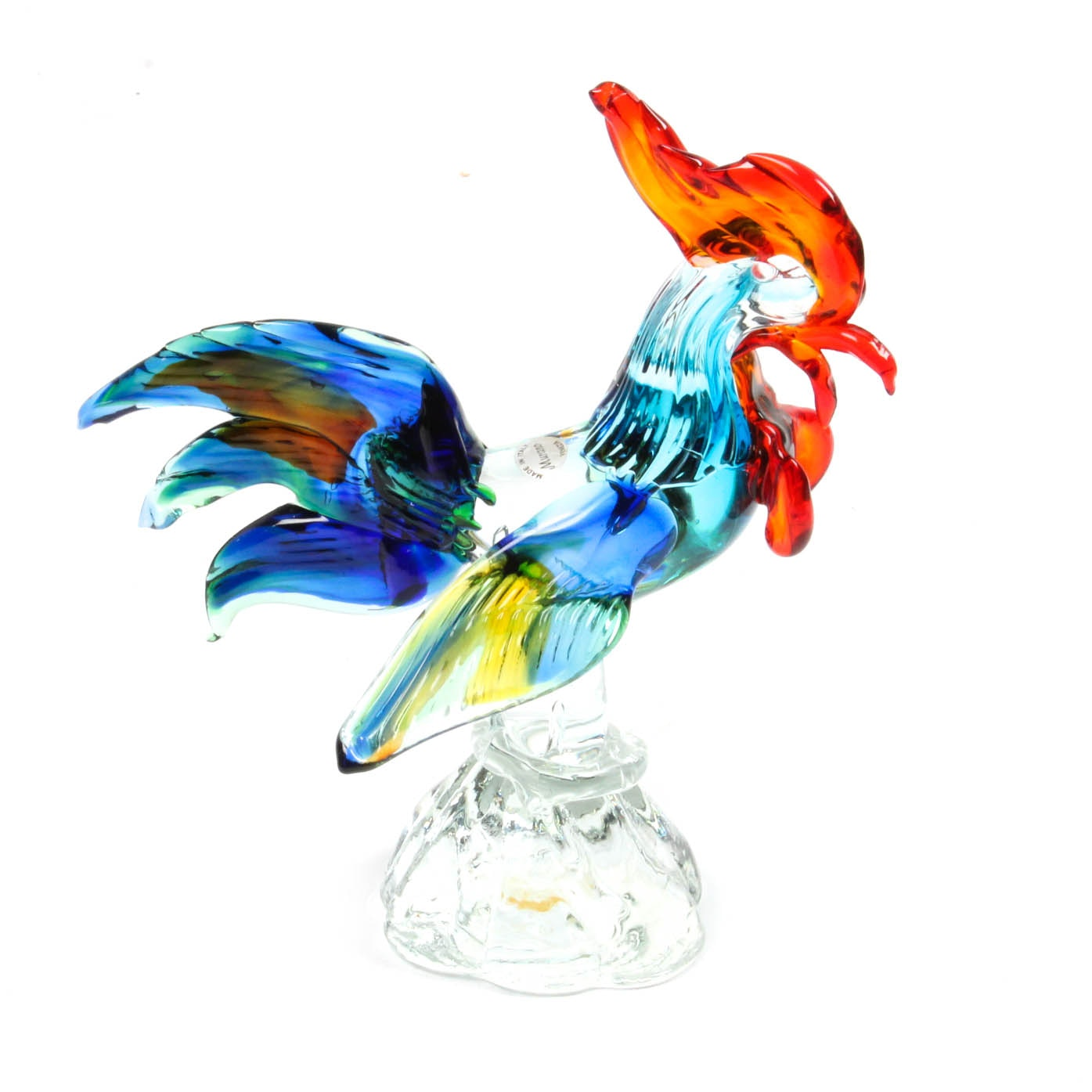Hand Blown Murano Art Glass Rooster