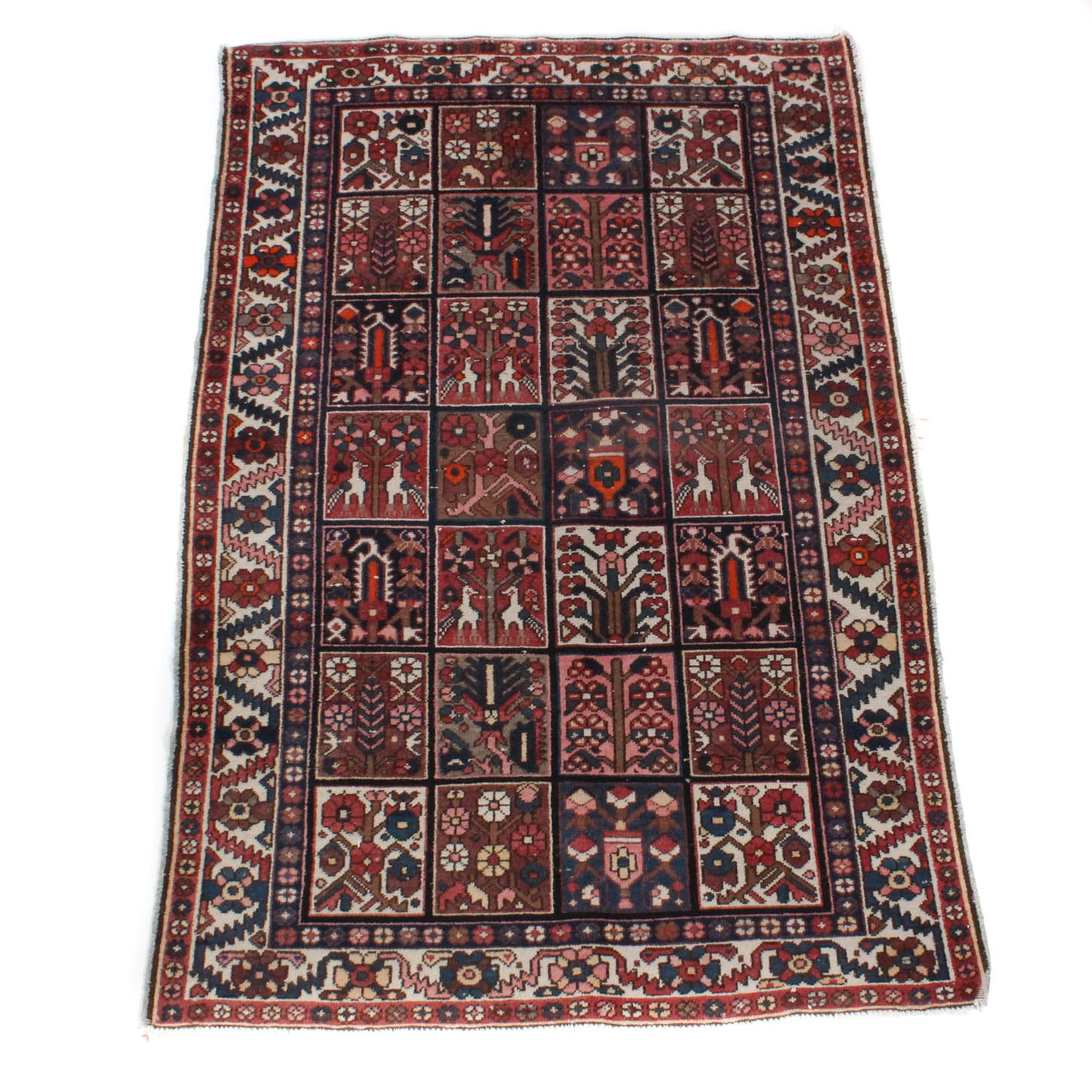 Antique Hand-Knotted Antique Persian Bakhtiari Rug