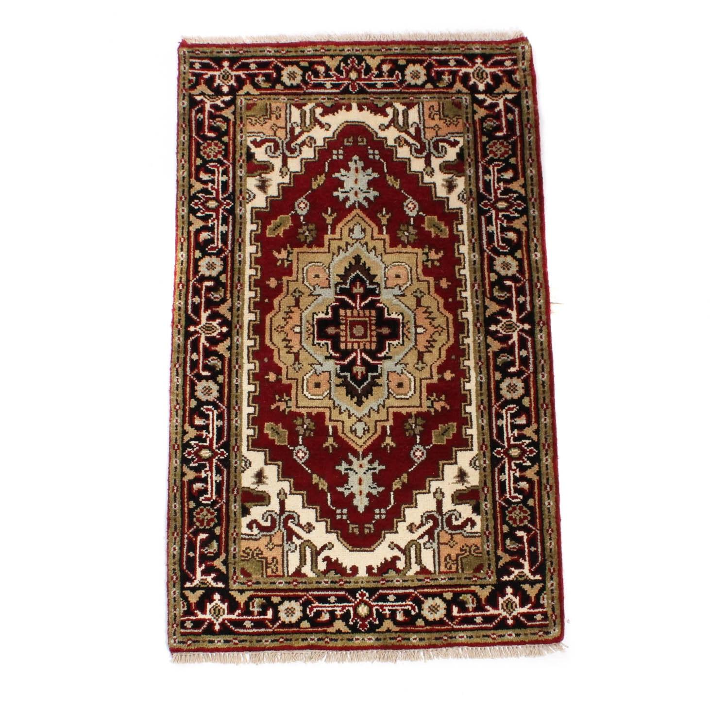 Hand-Knotted Indo Persian Heriz Serapi Rug
