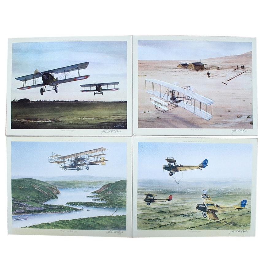 Set of Four Aviation John T. McCoy Signed Offset Lithographs