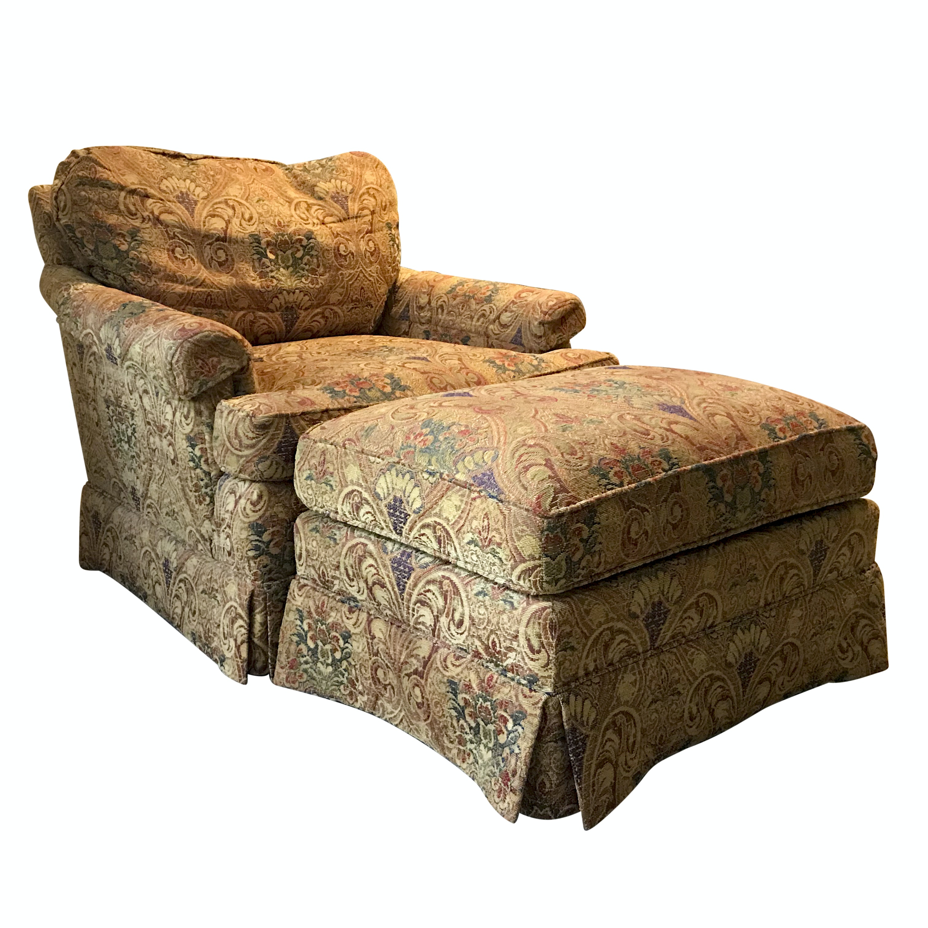 Tapestry Upholstered Armchair and Ottoman