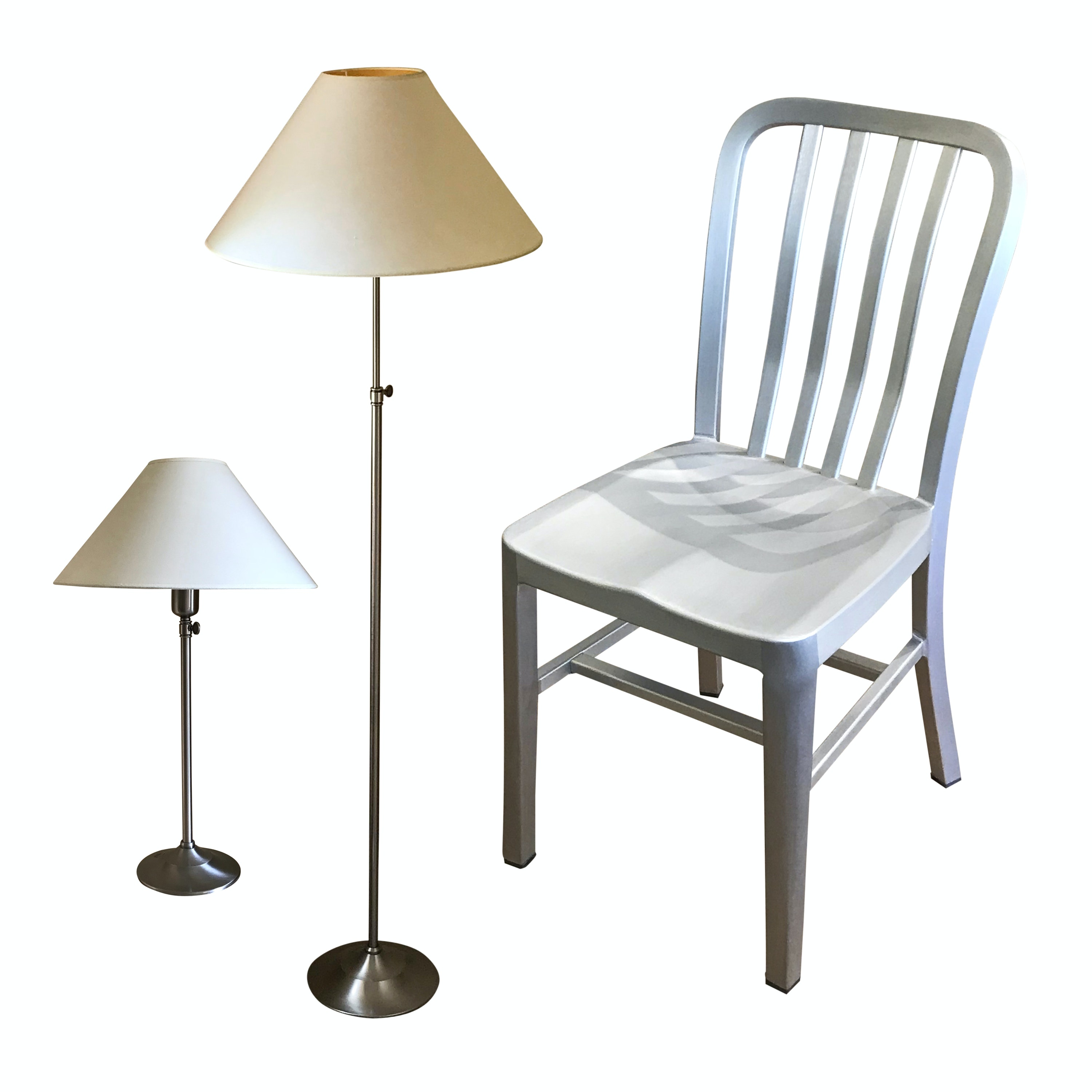 Crate & Barrel Chair and Brushed Silver Tone Pottery Barn Lamps