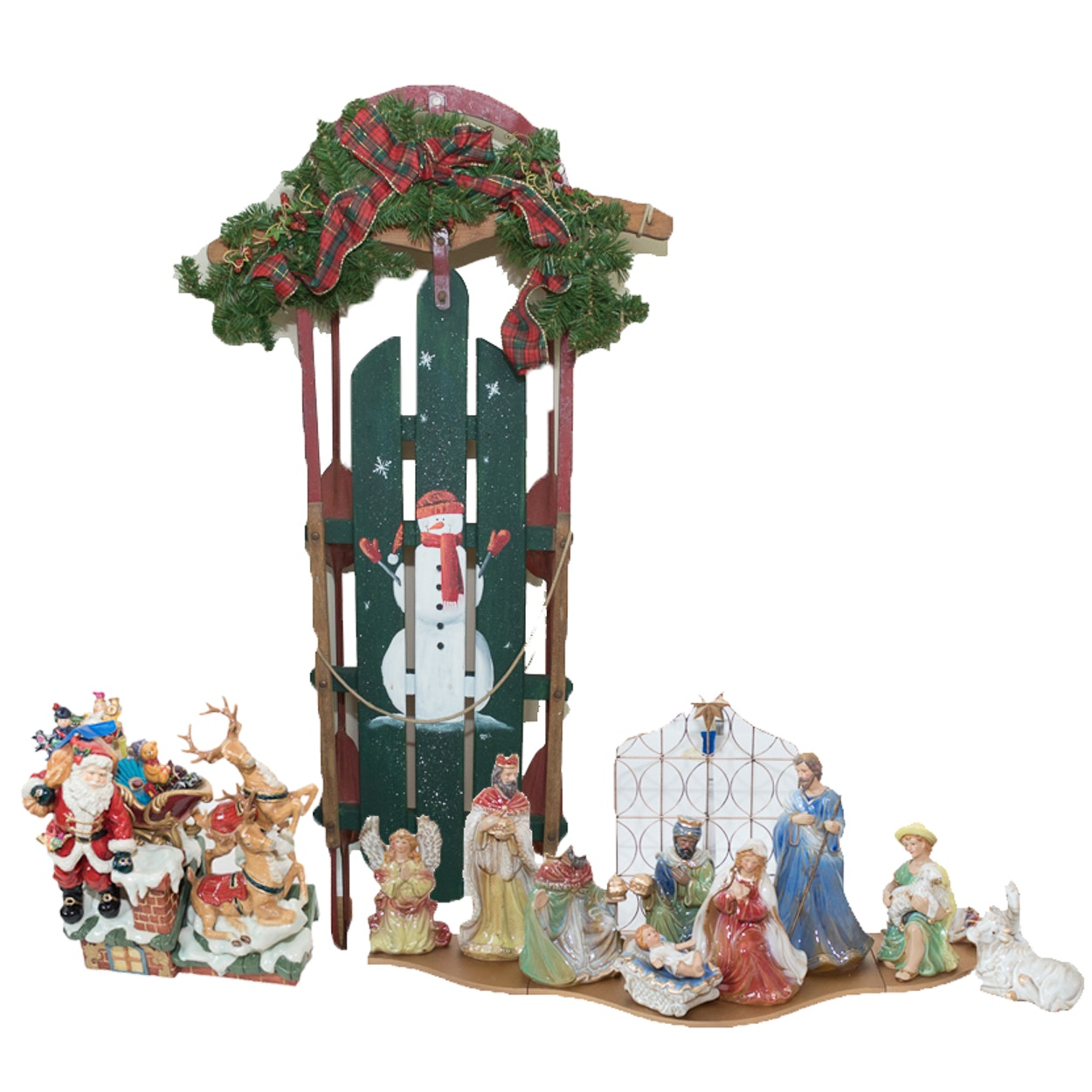 Christmas Sled, Table Centerpiece and Nativity Set