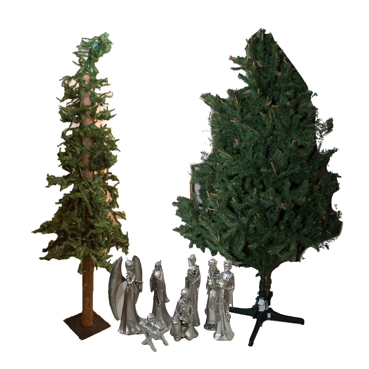 Christmas Trees and Pewter Colored Nativity Set