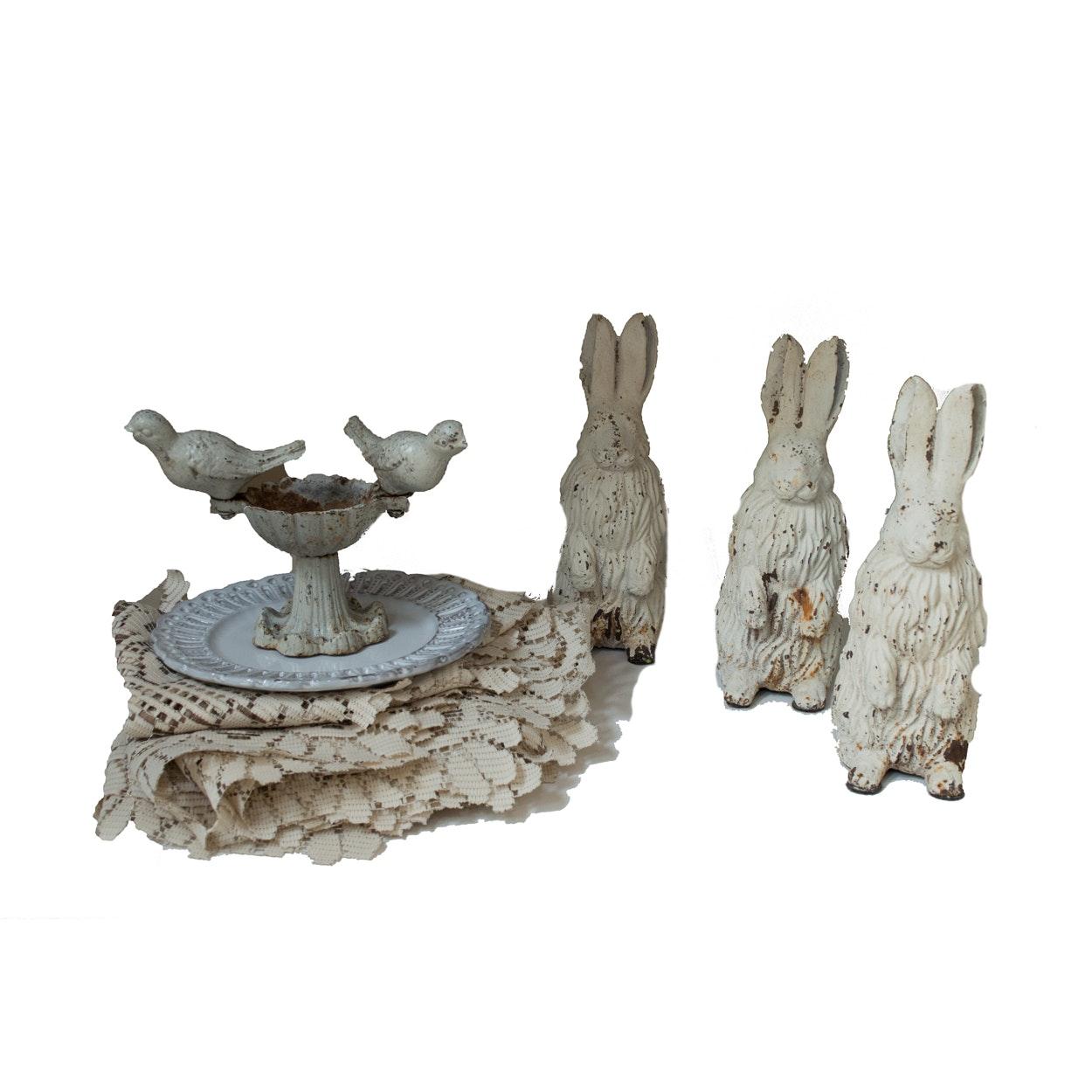 Cast Metal Rabbits, Bird Bath Table Decor, Plate, Prints and Linen Collectibles