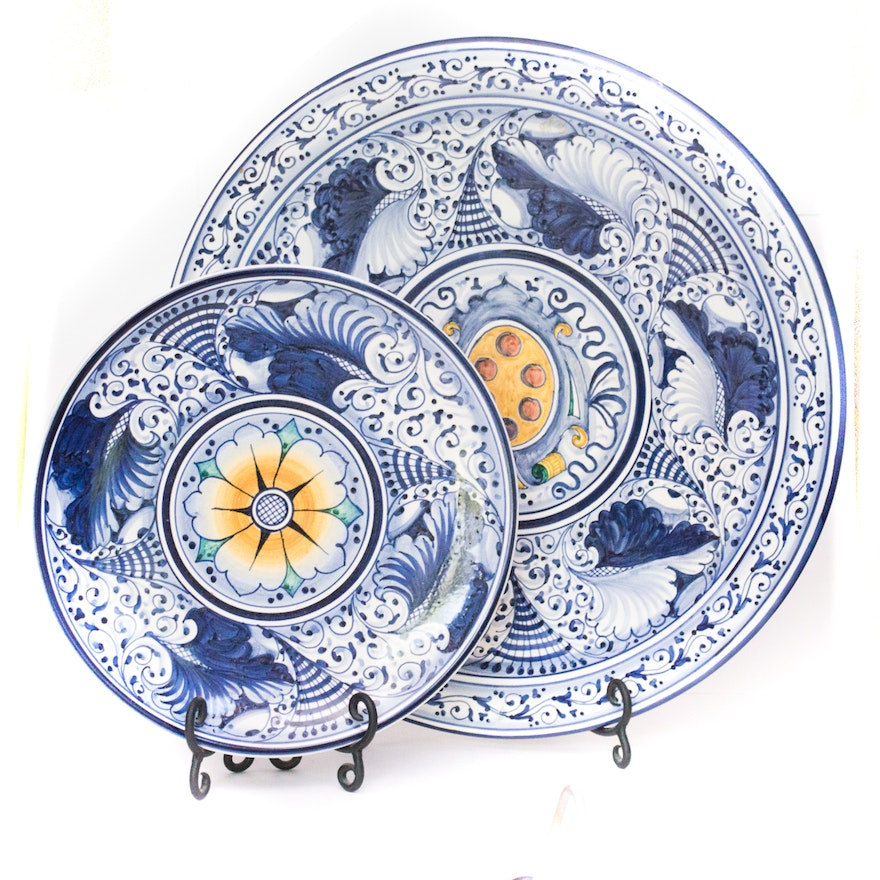 Hand Painted Principe Di Firenze Ceramic Wall Decor And Plate Stands