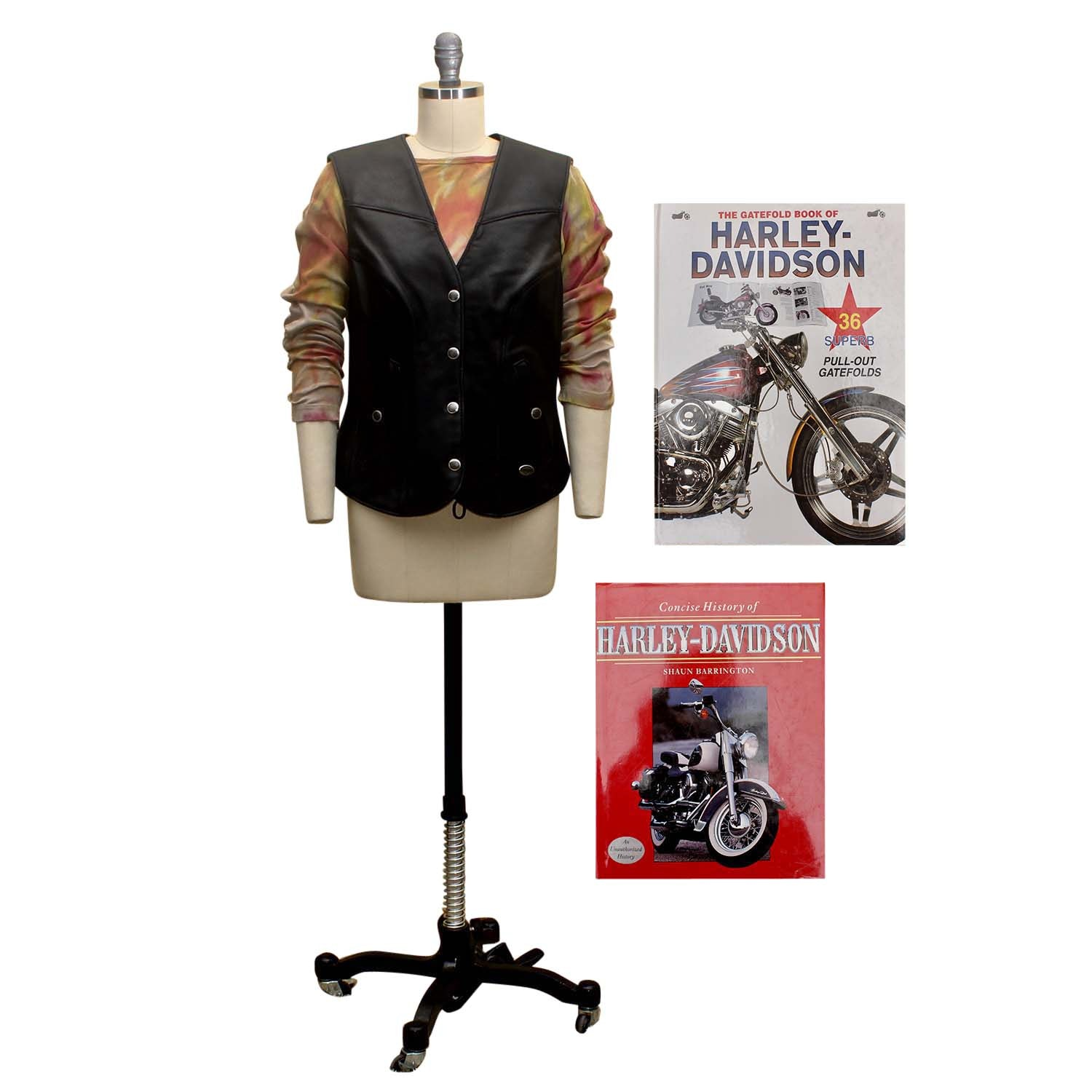 Harley-Davidson Leather Vest And Coffee Table Books