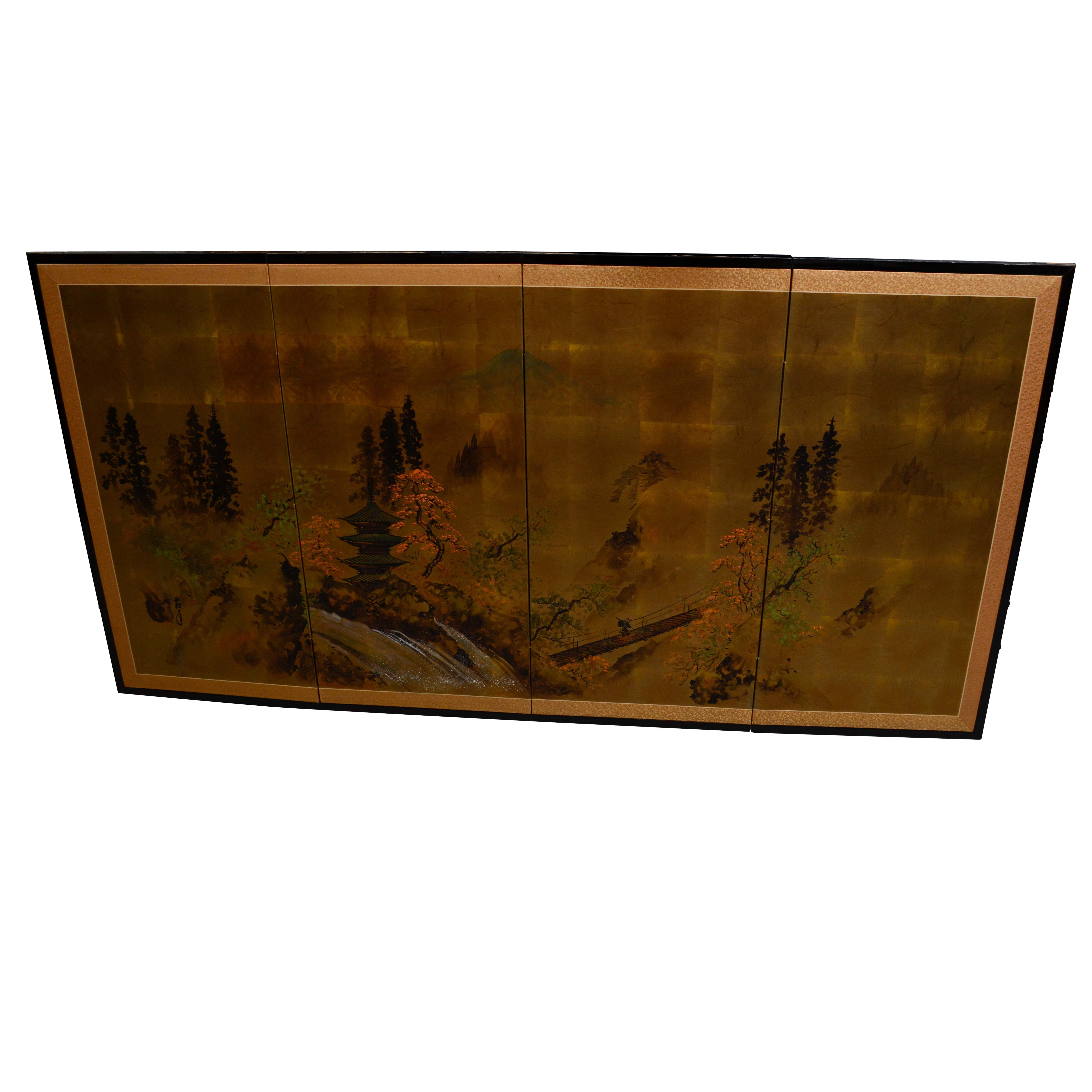 Japanese Landscape Ink and Watercolor Wall-Mounted Screen