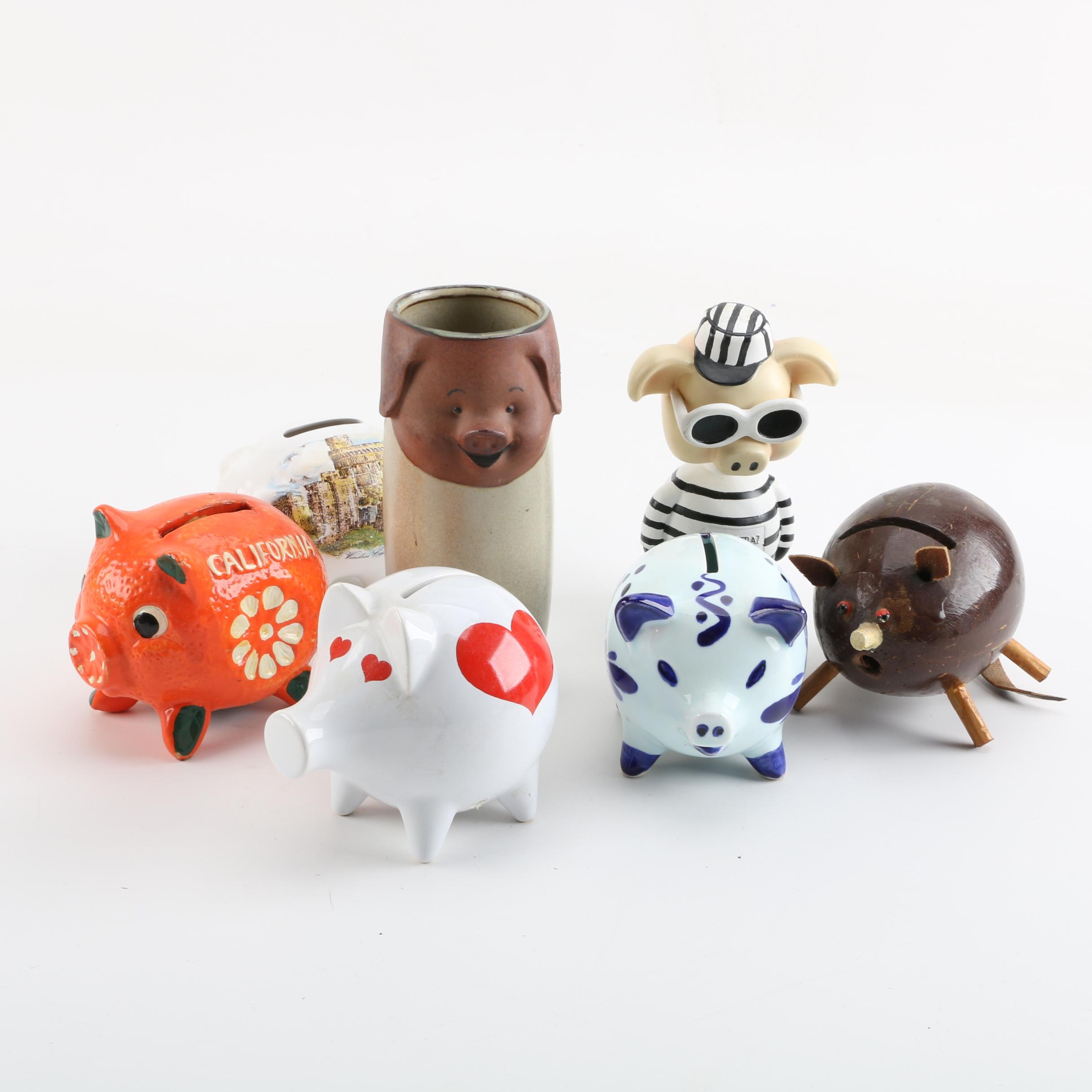 Pig Figurines, Banks and Vase Featuring Waechtersbach