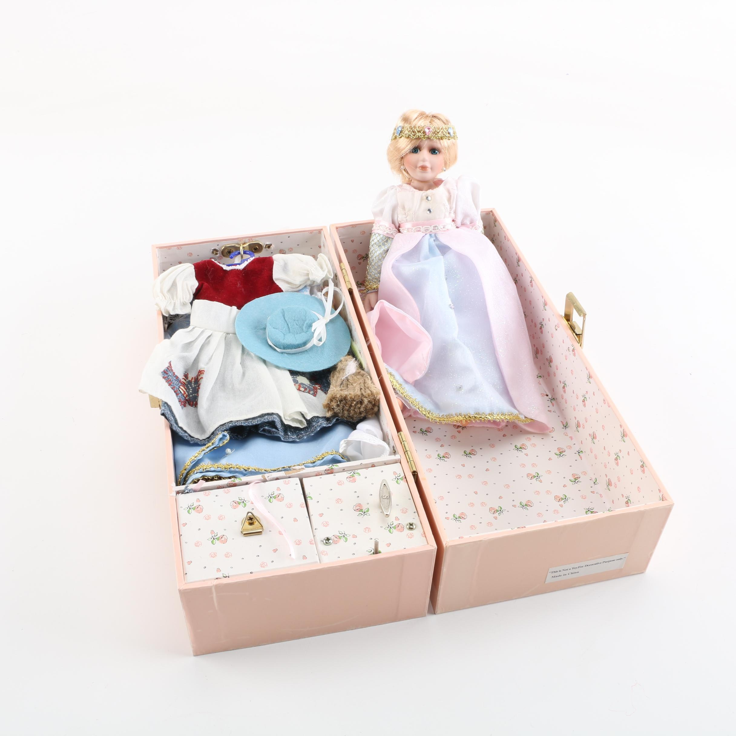 Porcelain Doll with Musical Carrying Case and Doll Costumes