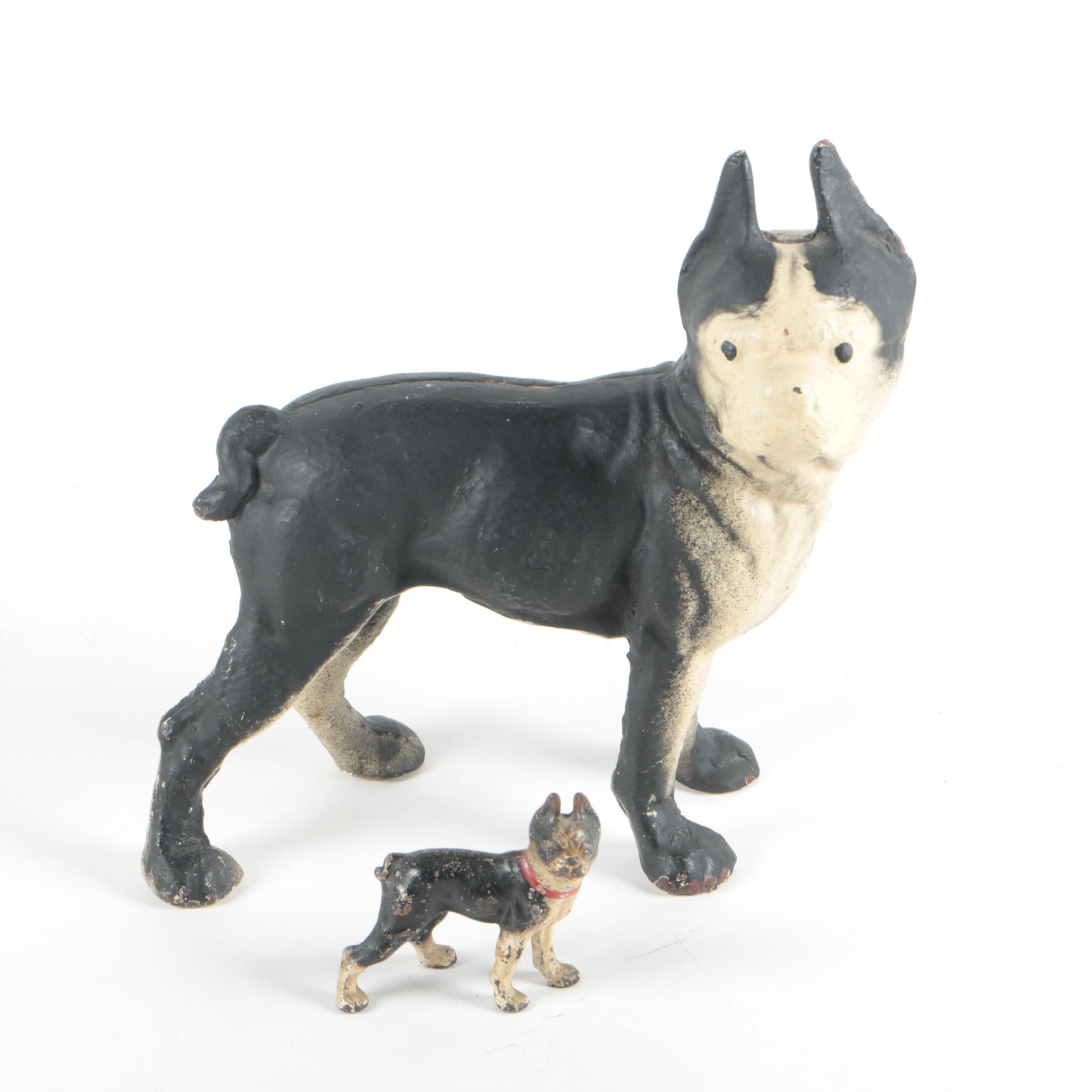 Vintage Cast Iron Boston Terrier Doorstop Dog Figurines in the Style of Hubley