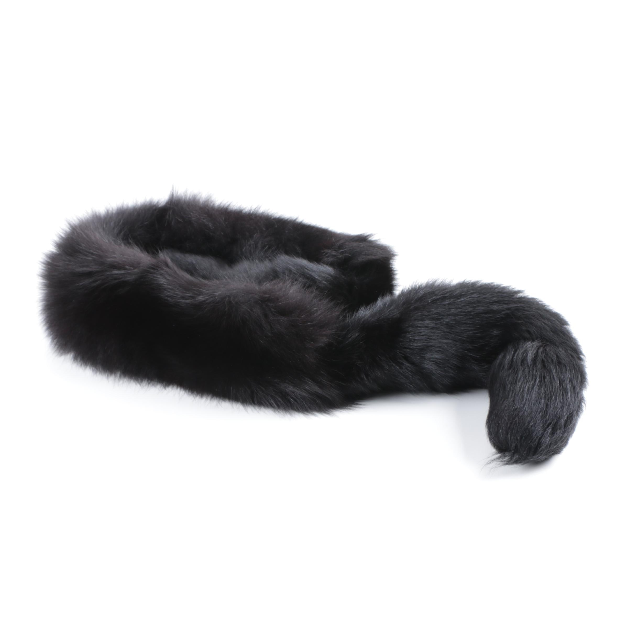 Vintage Don Anderson Dyed Black Fox Fur Scarf