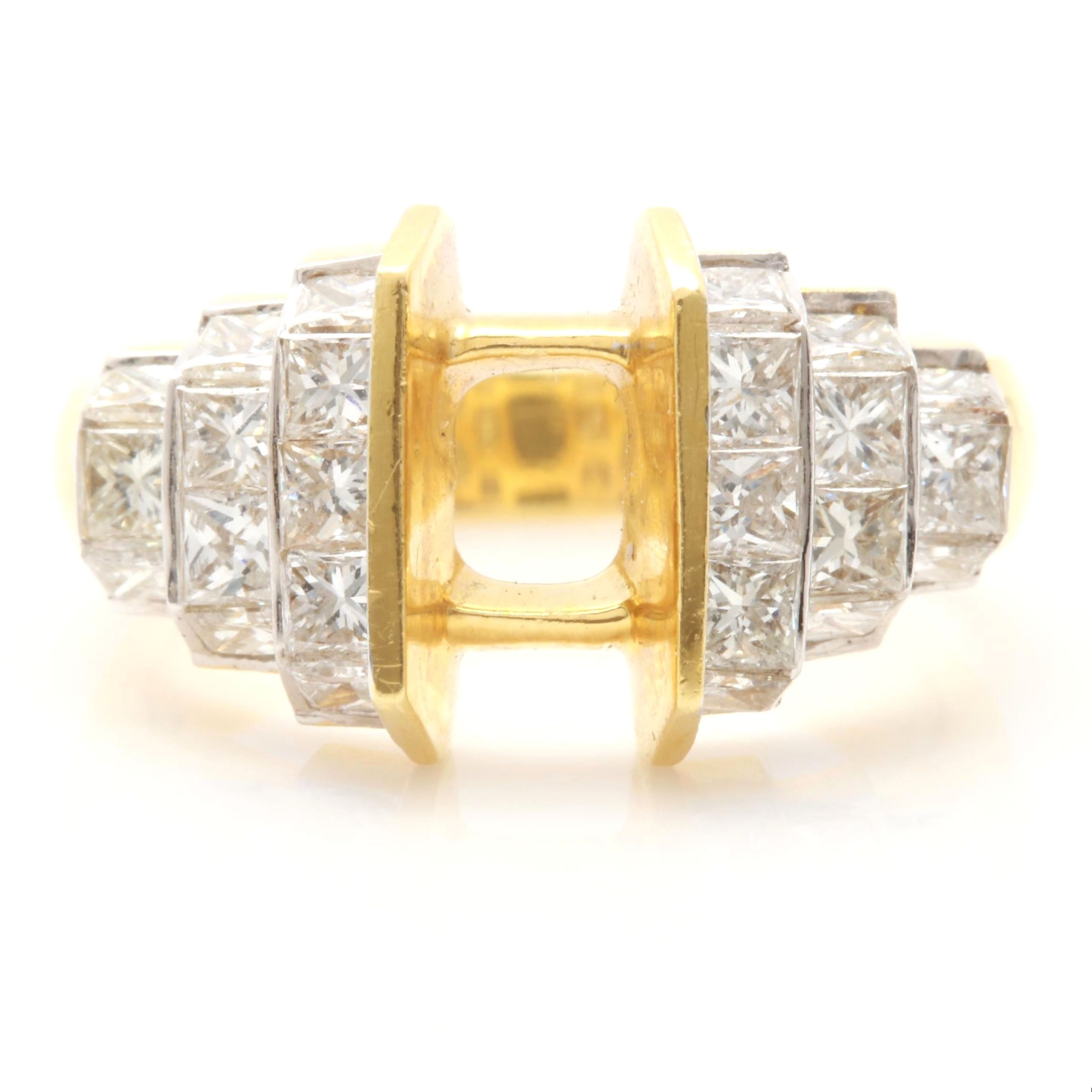 18K Yellow Gold 1.55 CTW Diamond Semi-Mount Ring
