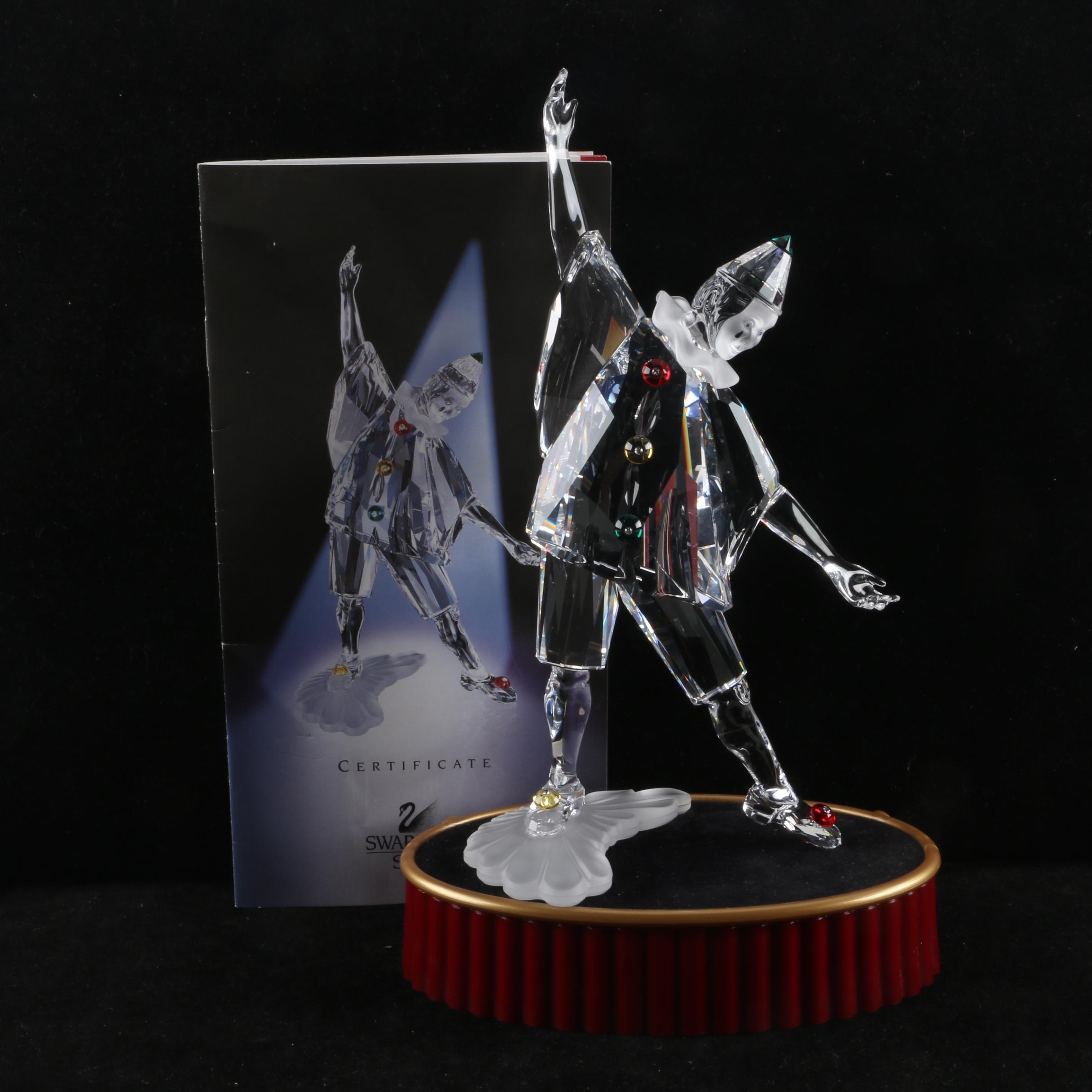 """Swarovski Crystal """"Pierrot"""" Clown Figurine with Base"""
