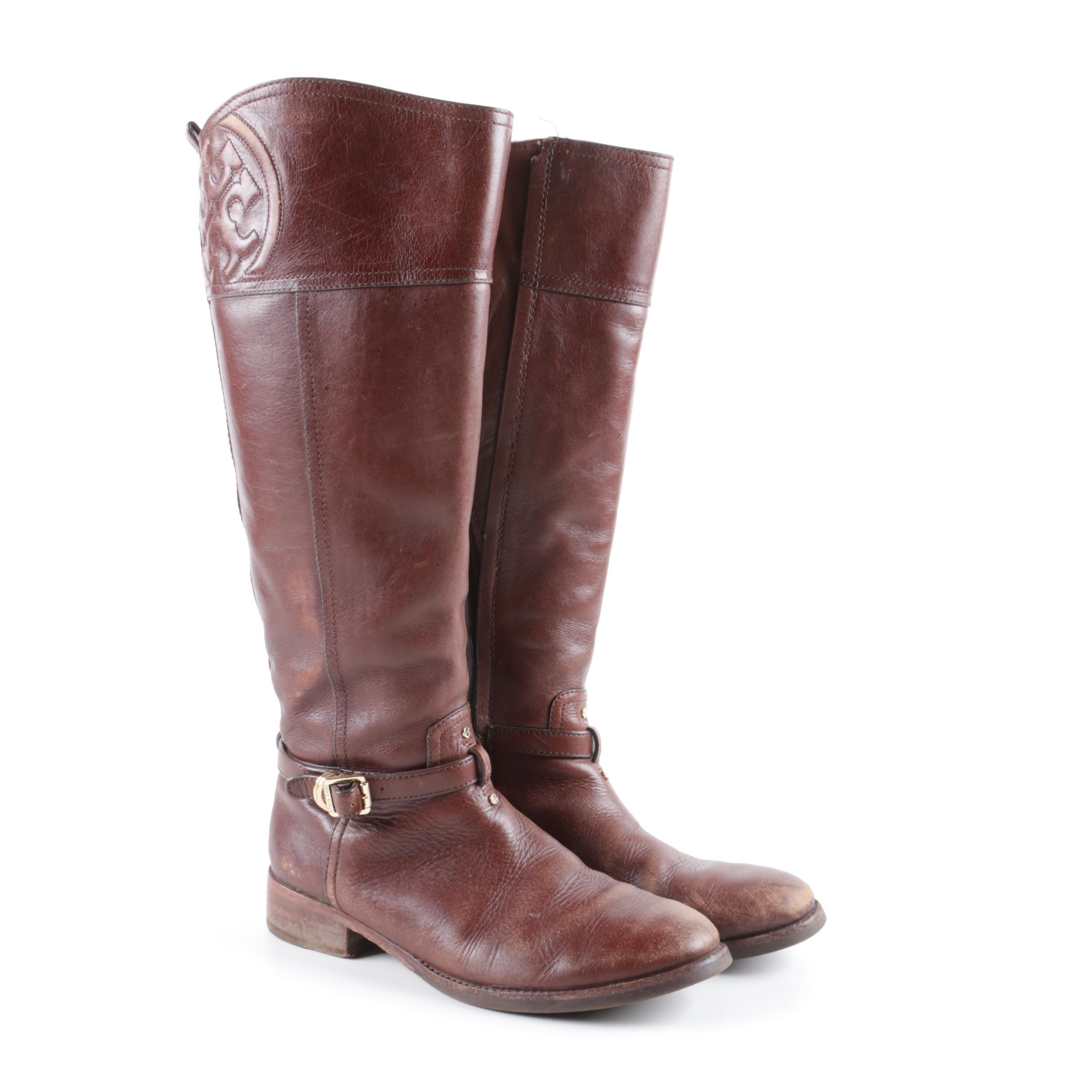 Tory Burch Marlene Brown Leather Riding Boots