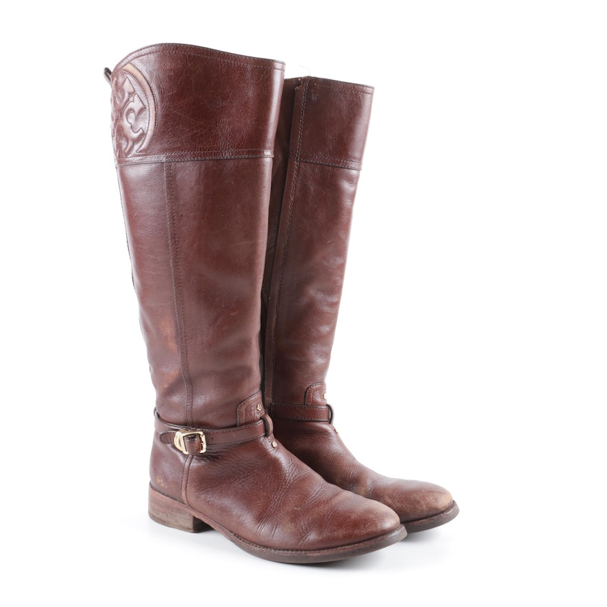 99abbf1e7c65 Tory Burch Marlene Brown Leather Riding Boots   EBTH