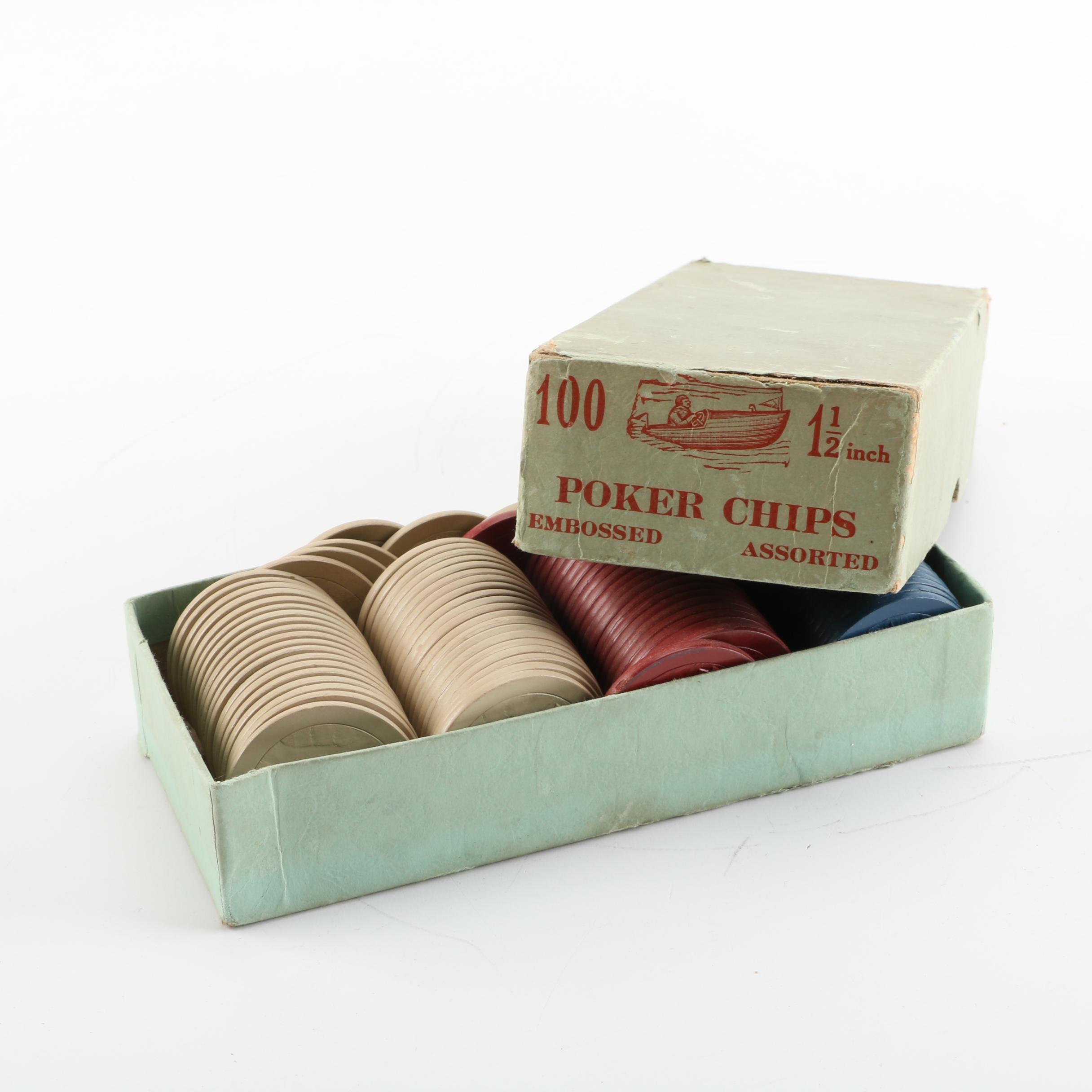 Vintage Poker Chips in Original Box