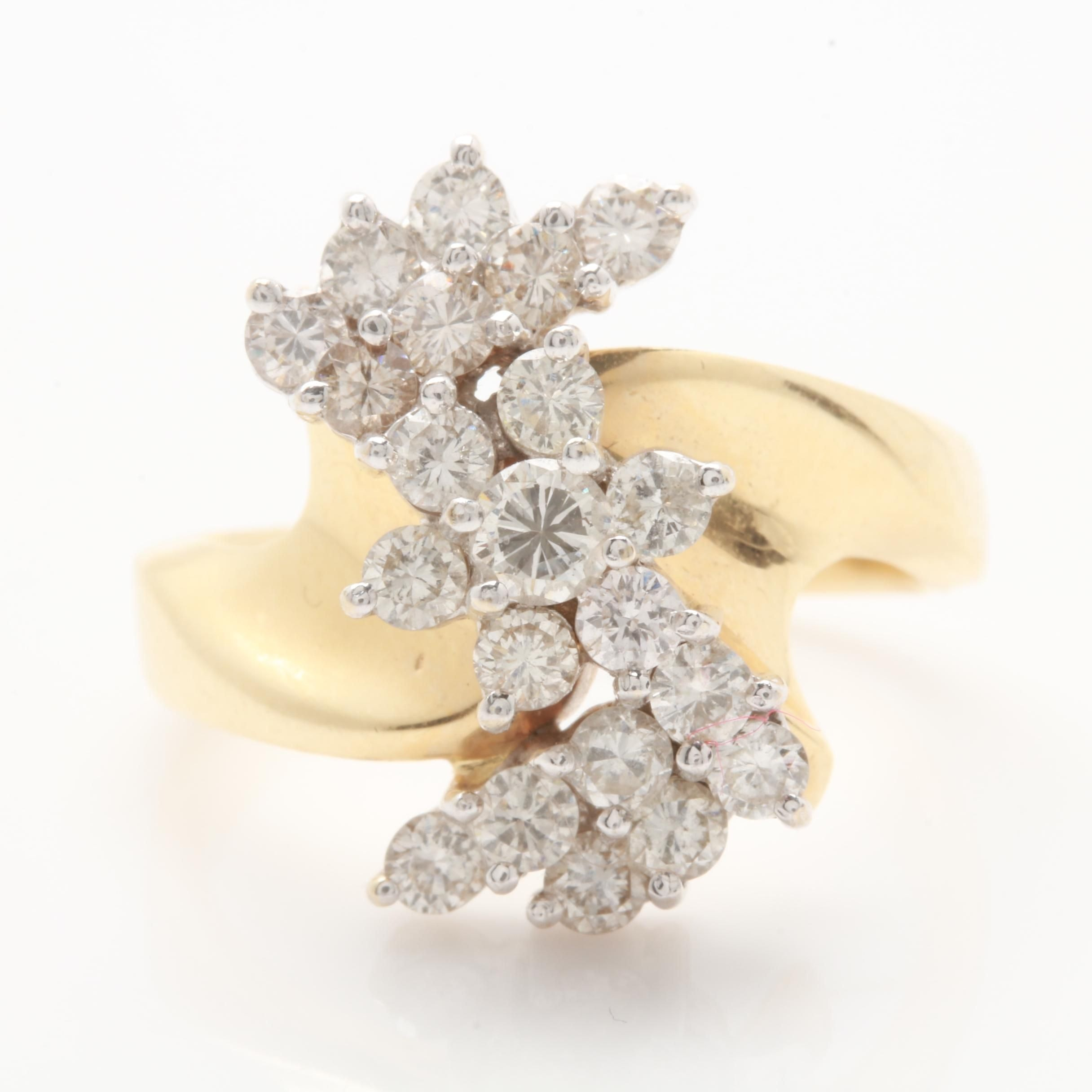 14K Yellow Gold 1.15 CTW Diamond Cluster Ring