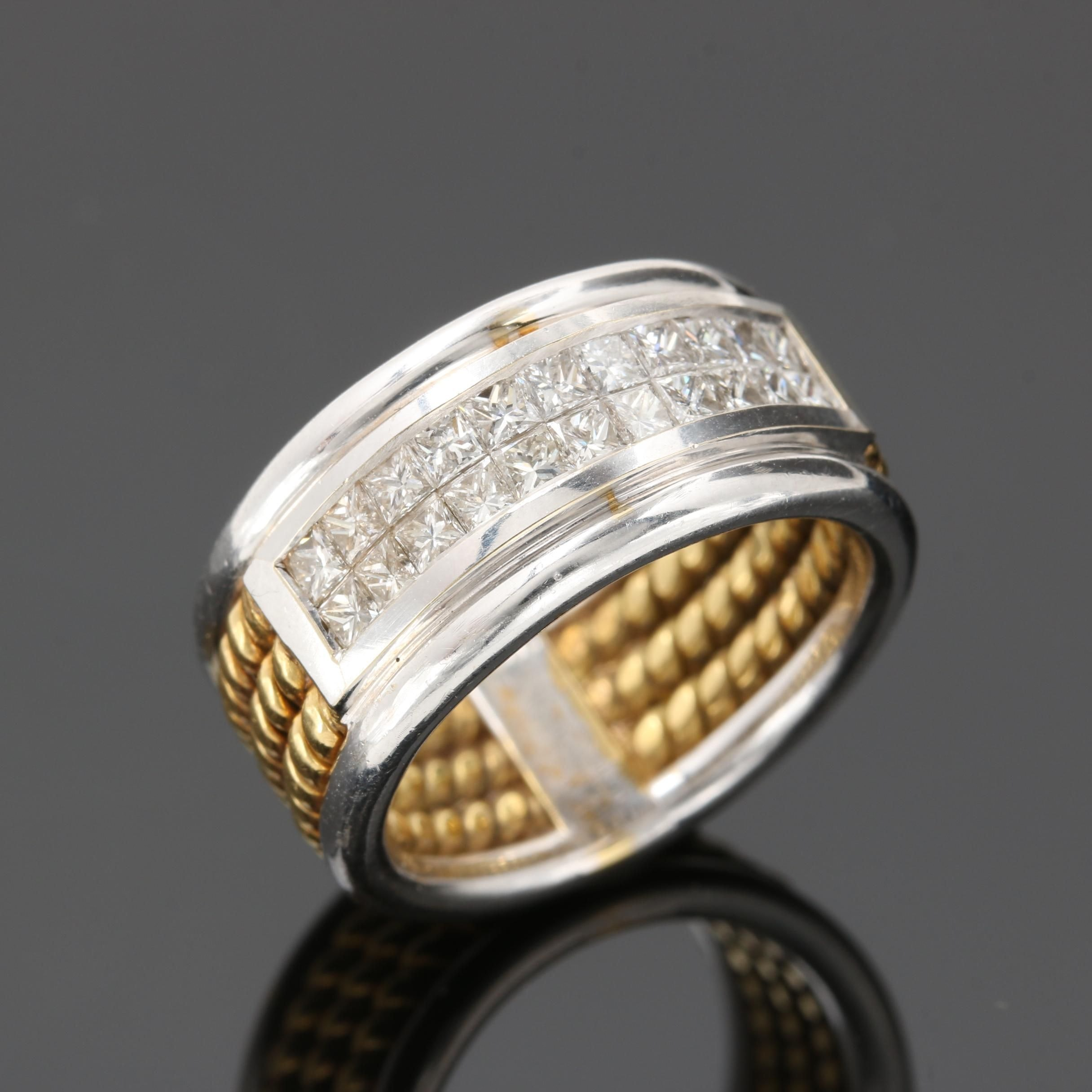 18K White Gold Diamond Band With Yellow Gold Accents
