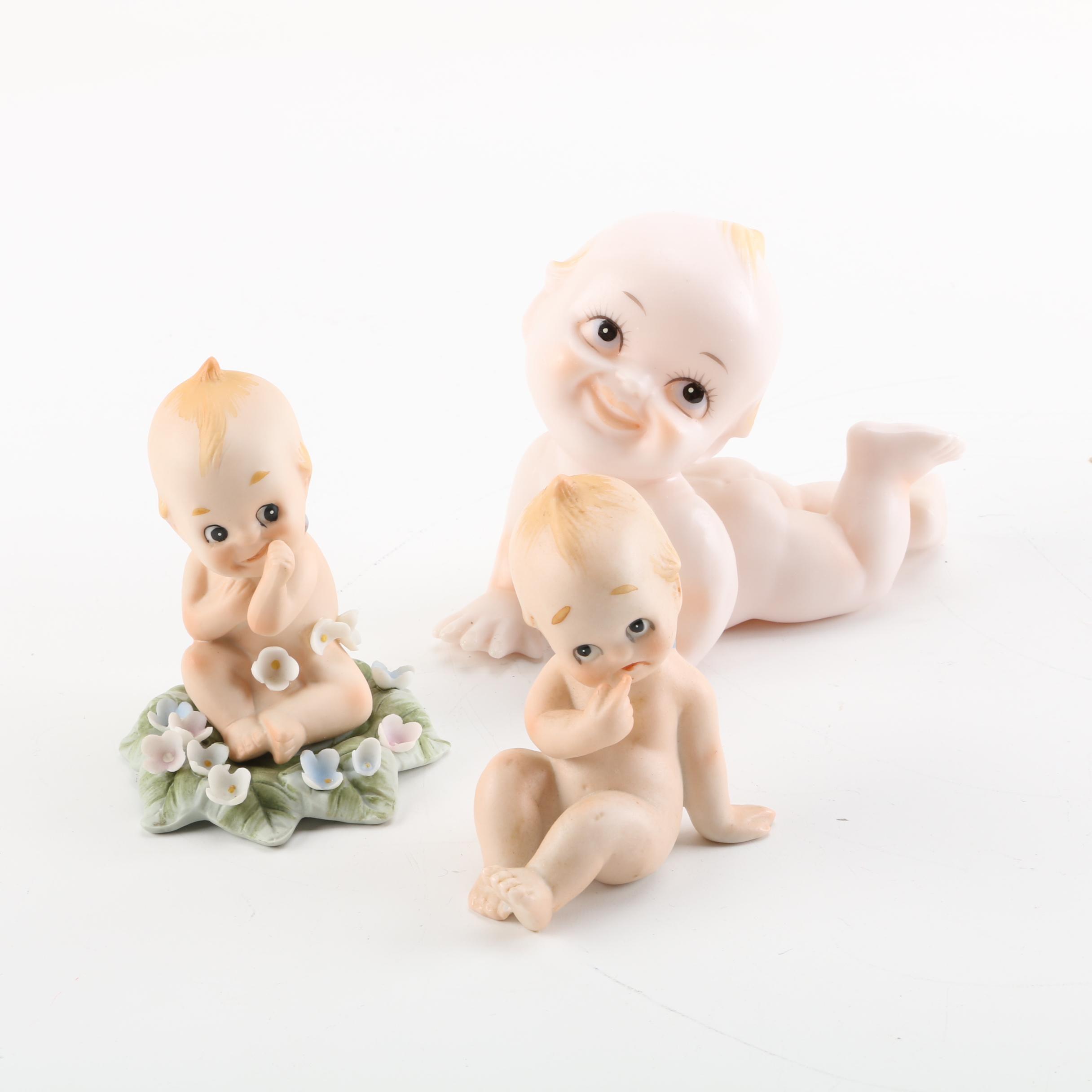 Vintage Porcelain Bisque Kewpie Figurines Featuring Lefton and Norcrest