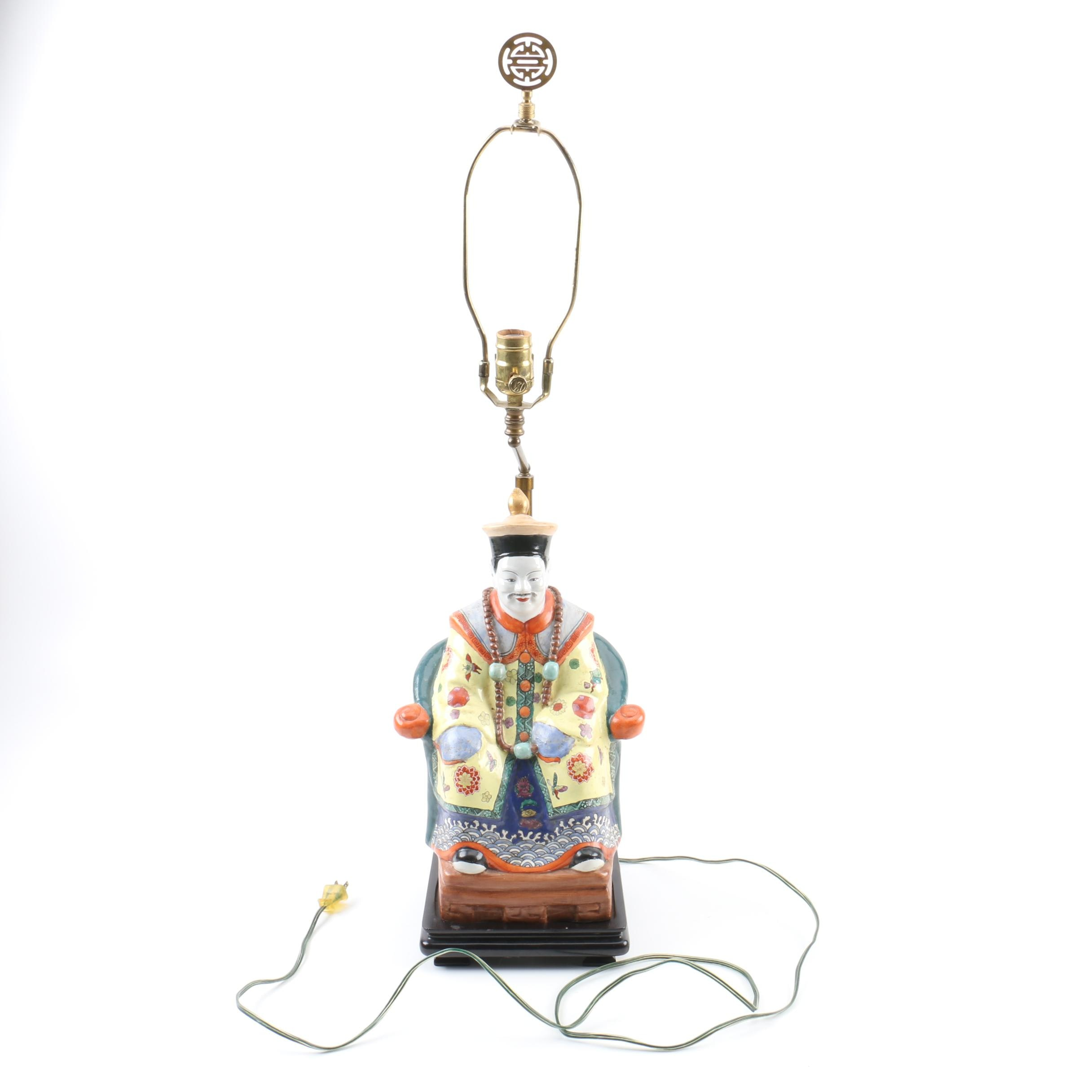 Asian Style Porcelain Seated Emperor Figure Table Lamp