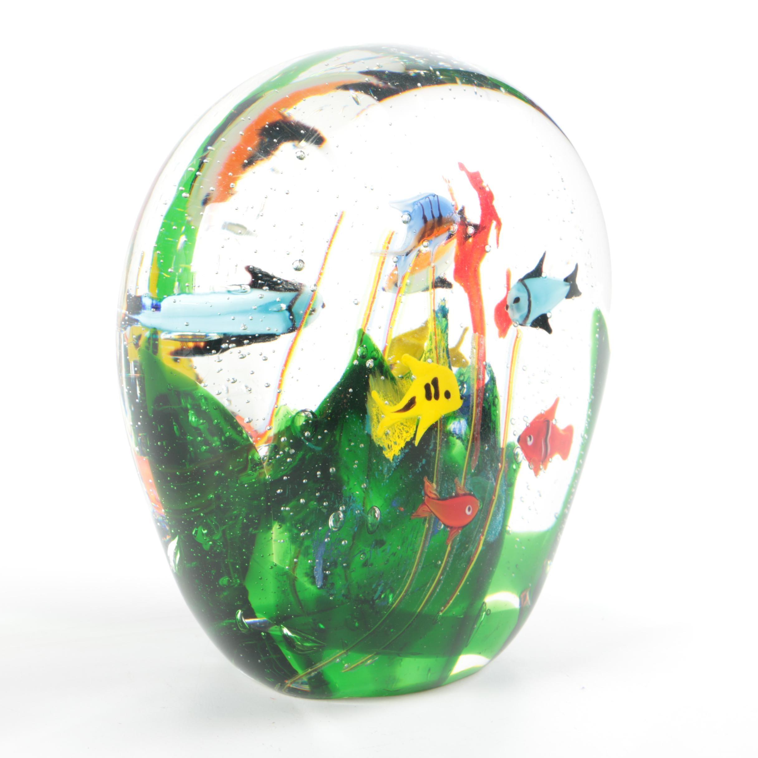 Fish Motif Art Glass Globe Paperweight