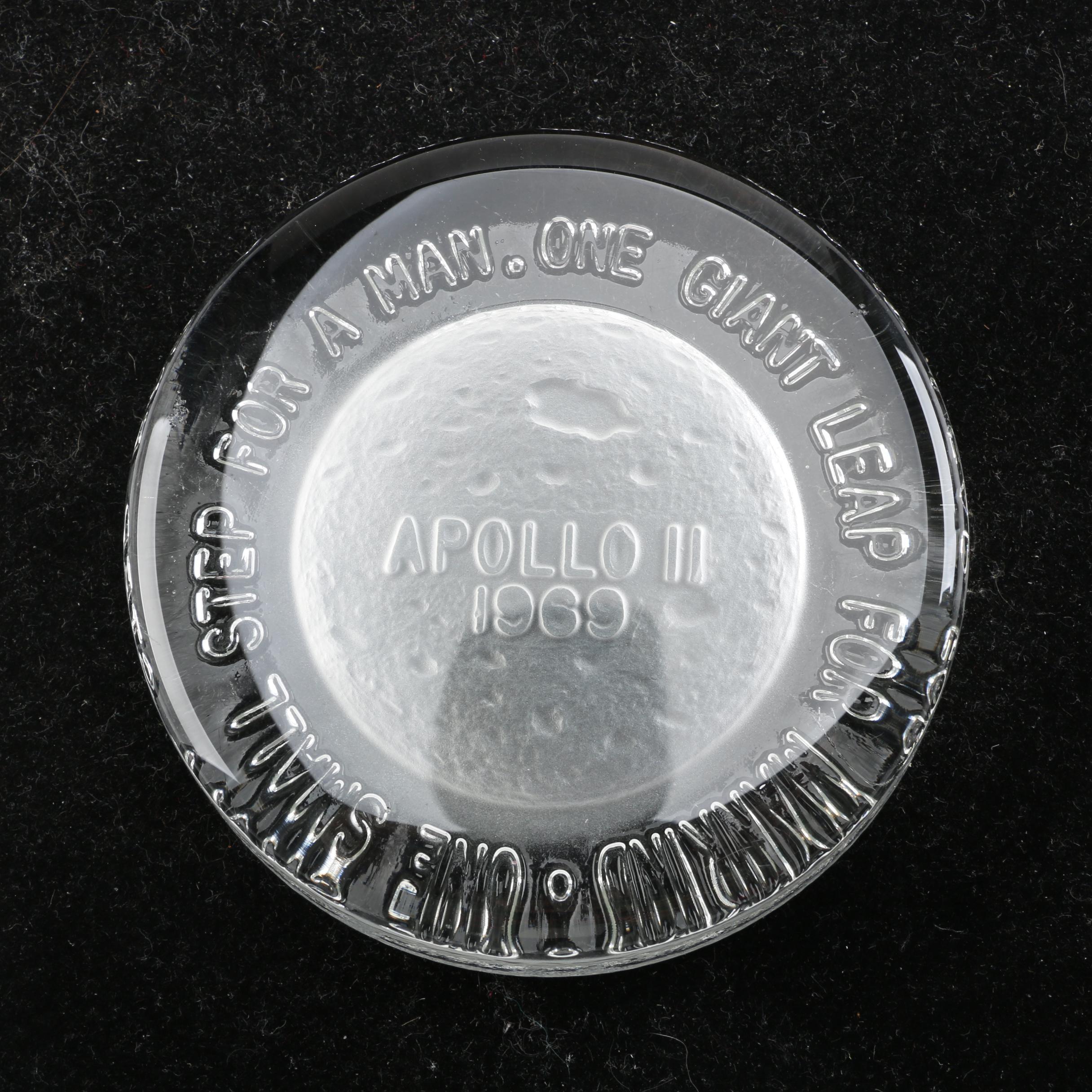 Mid-Century Modern Apollo II 1969 Moon Landing Commemorative Glass Paperweight