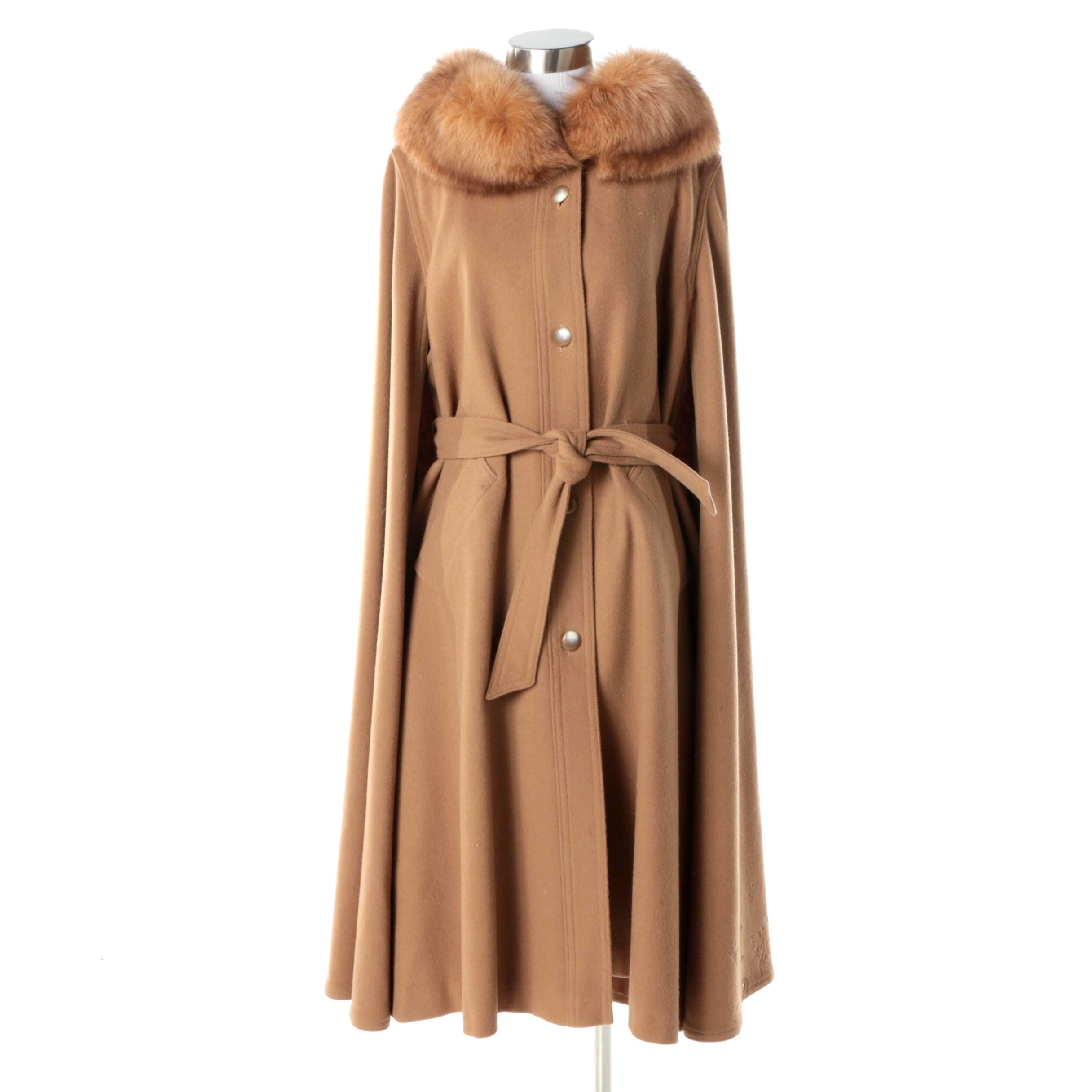 Women's Vintage Brown Wool Cape Coat with Fox Fur Collar
