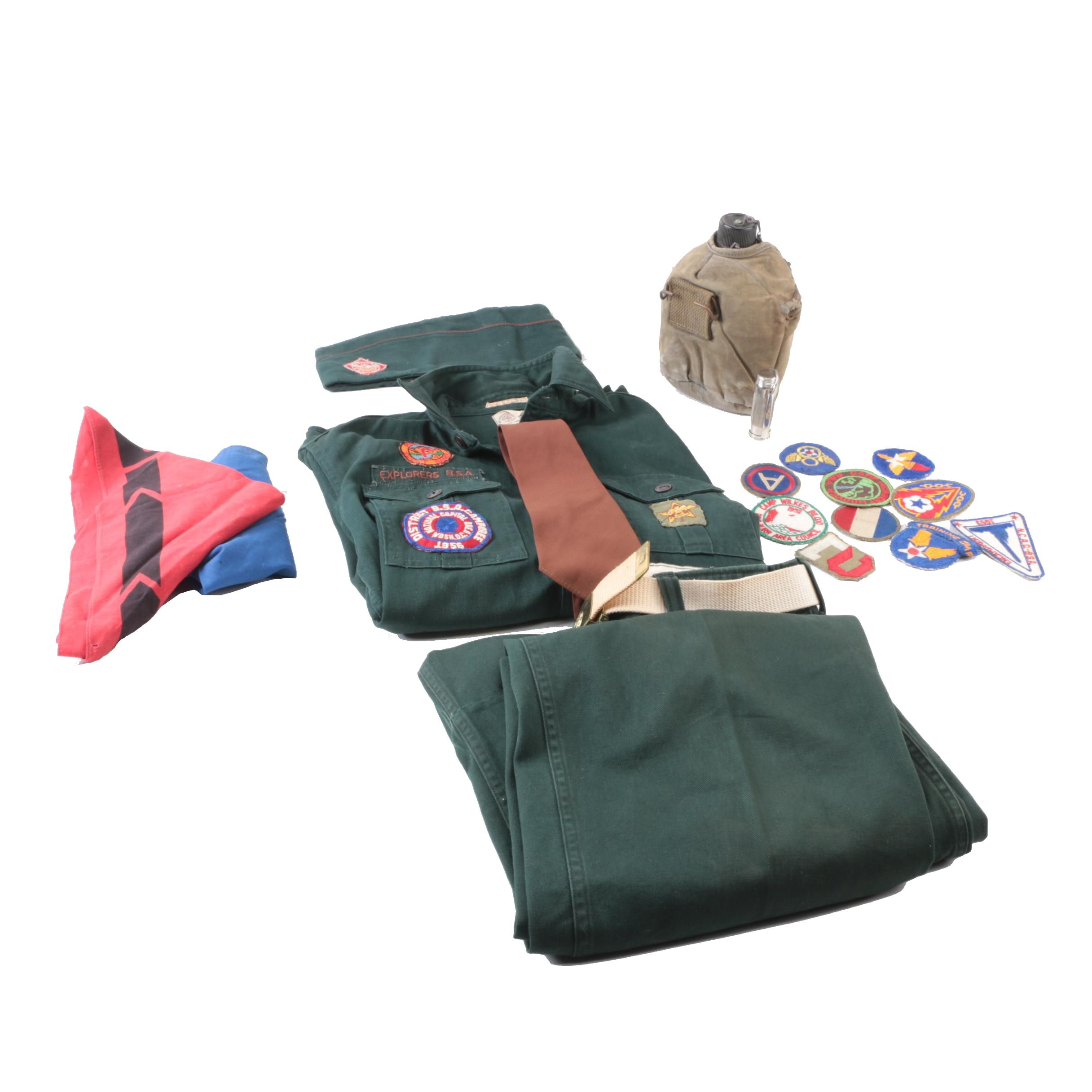 Vintage Boy Scout Uniform Including Patches and Water Canteen