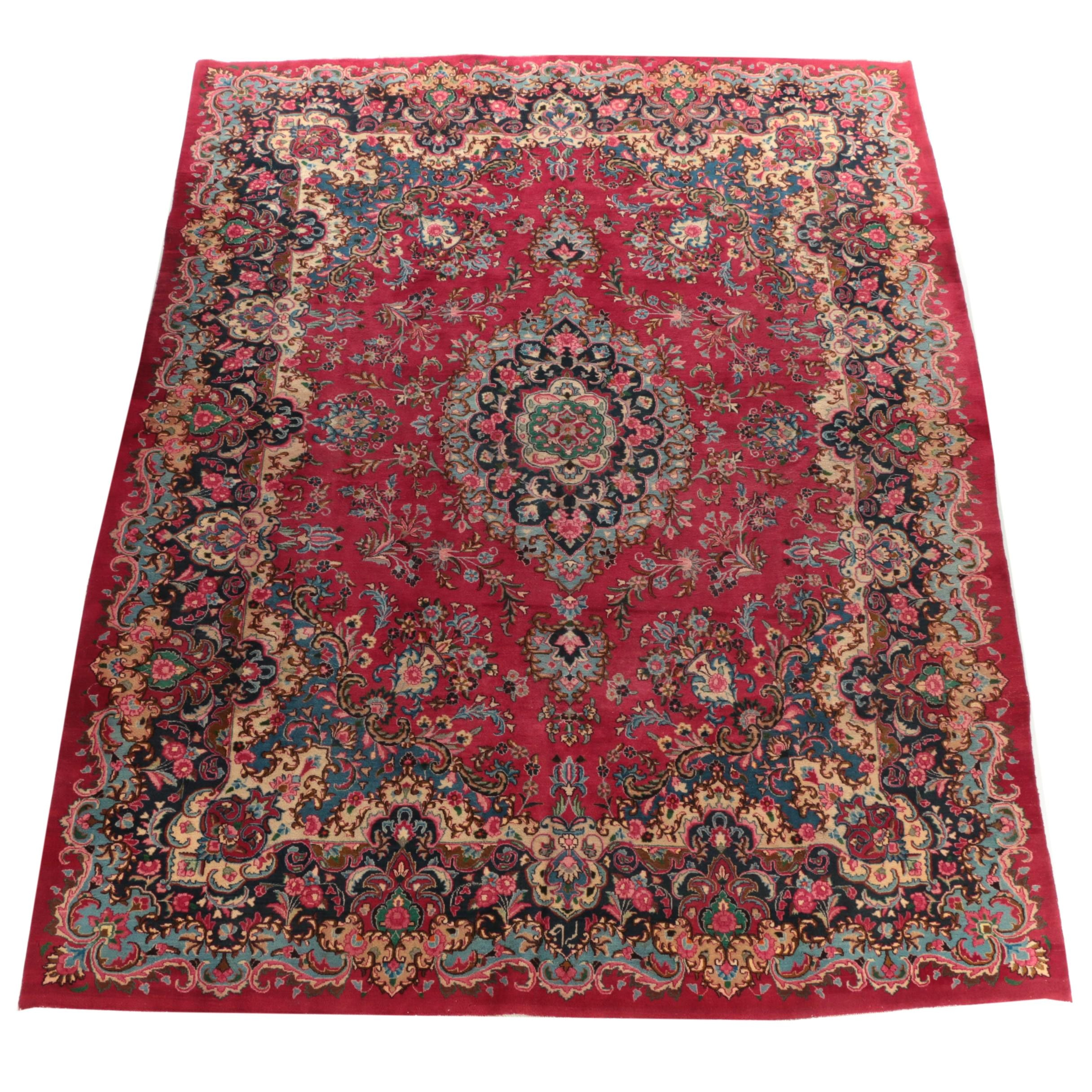 Hand-Knotted Persian Floral Wool Room Sized Rug