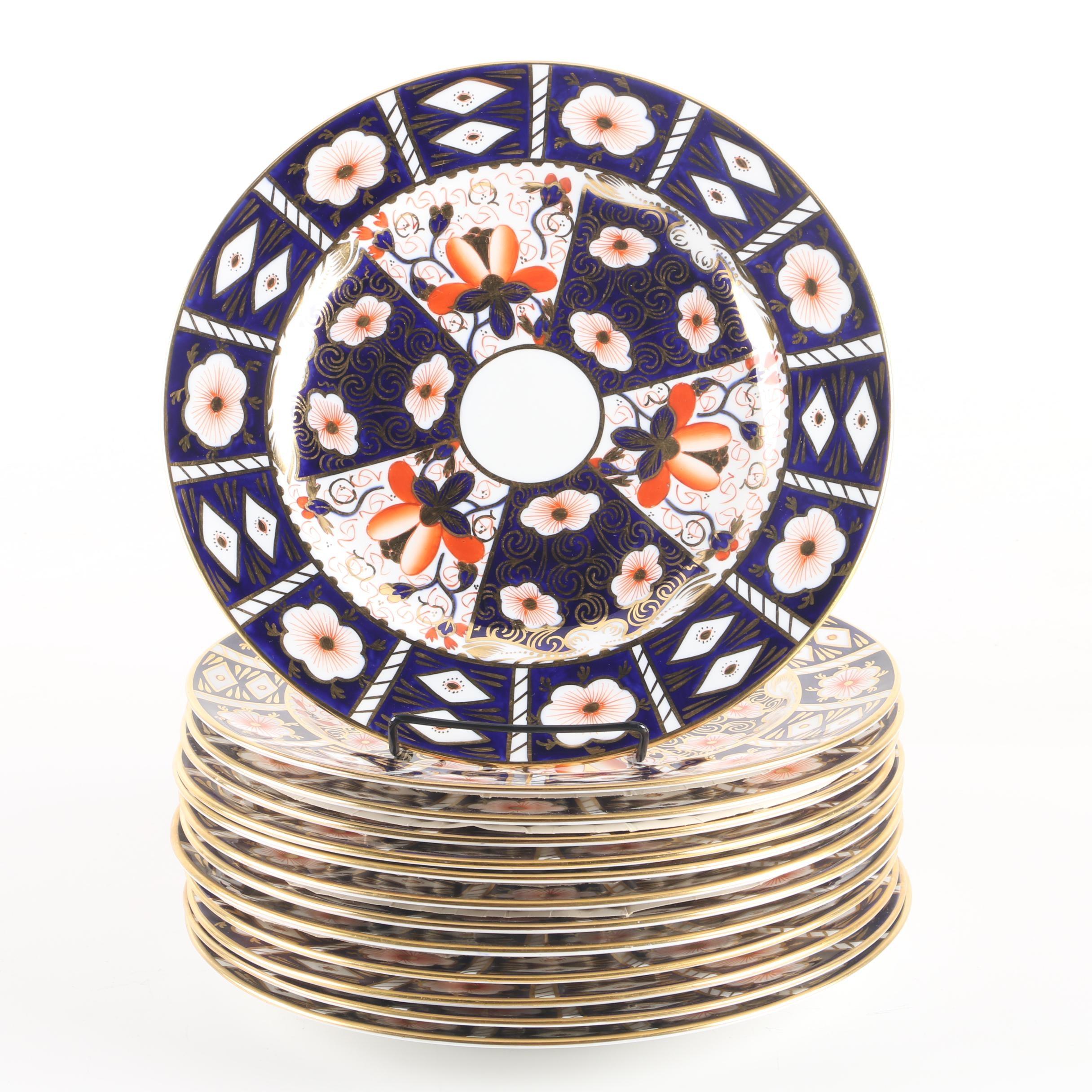 "Vintage Royal Crown Derby ""Traditional Imari"" Dinner Plates"