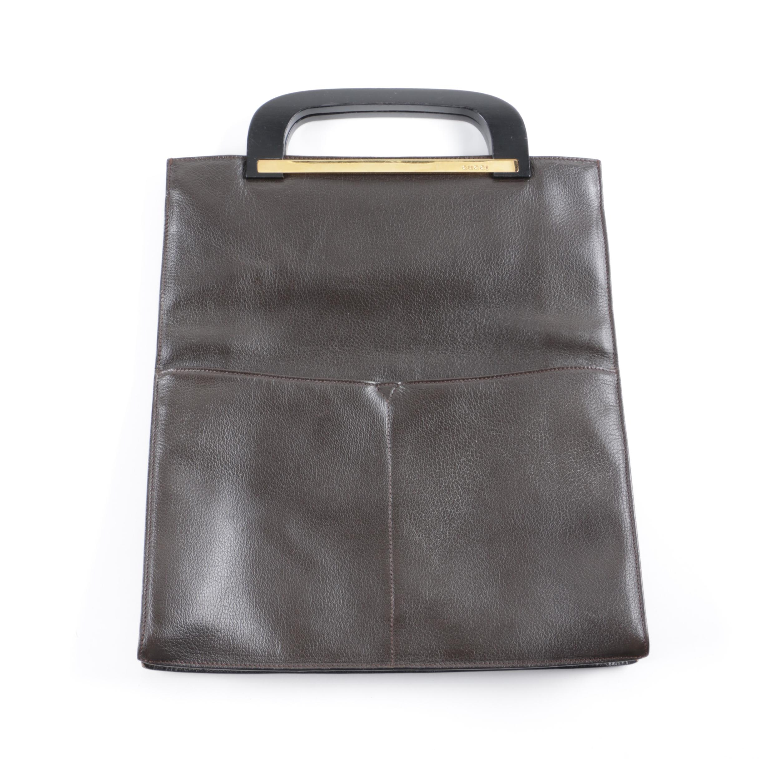 Vintage Gucci Dark Brown Leather Top Handle Handbag