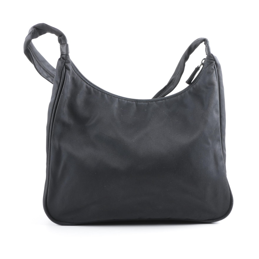Prada Black Nylon Hobo Bag   EBTH dabcd7b50fd6e